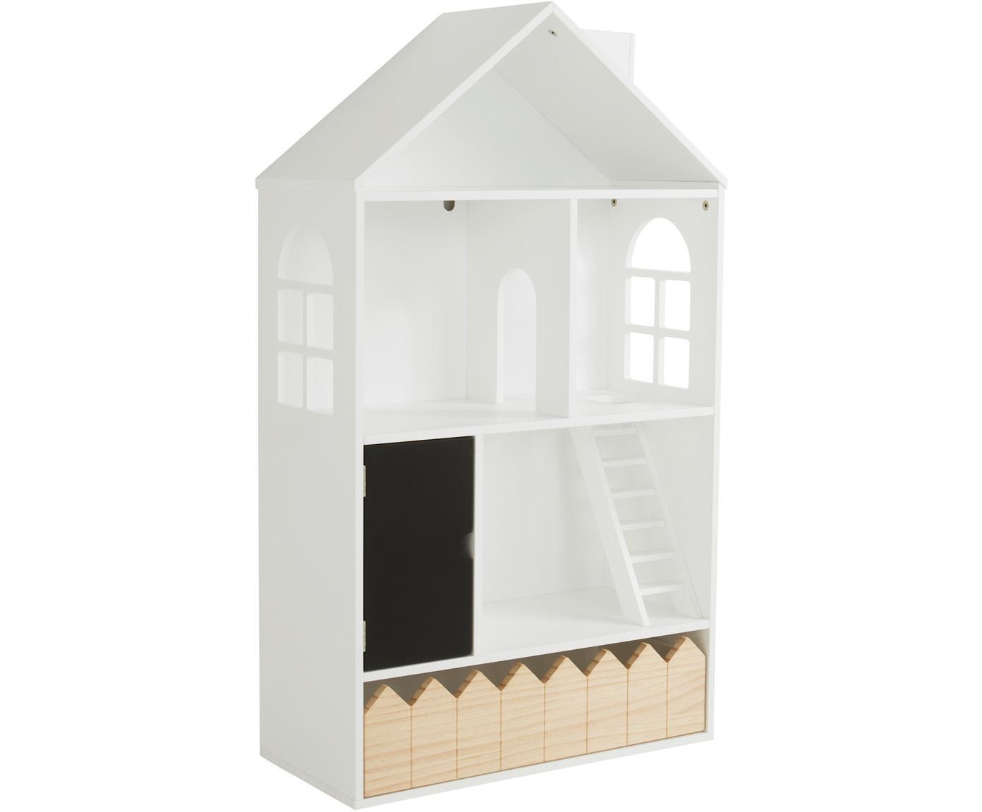 Zabawkowy domek dla lalek Mi Casa Su Casa, Drewno sosnowe, płyta pilśniowa średniej gęstości (MDF), Biały, czarny, S 61 x W 106 cm