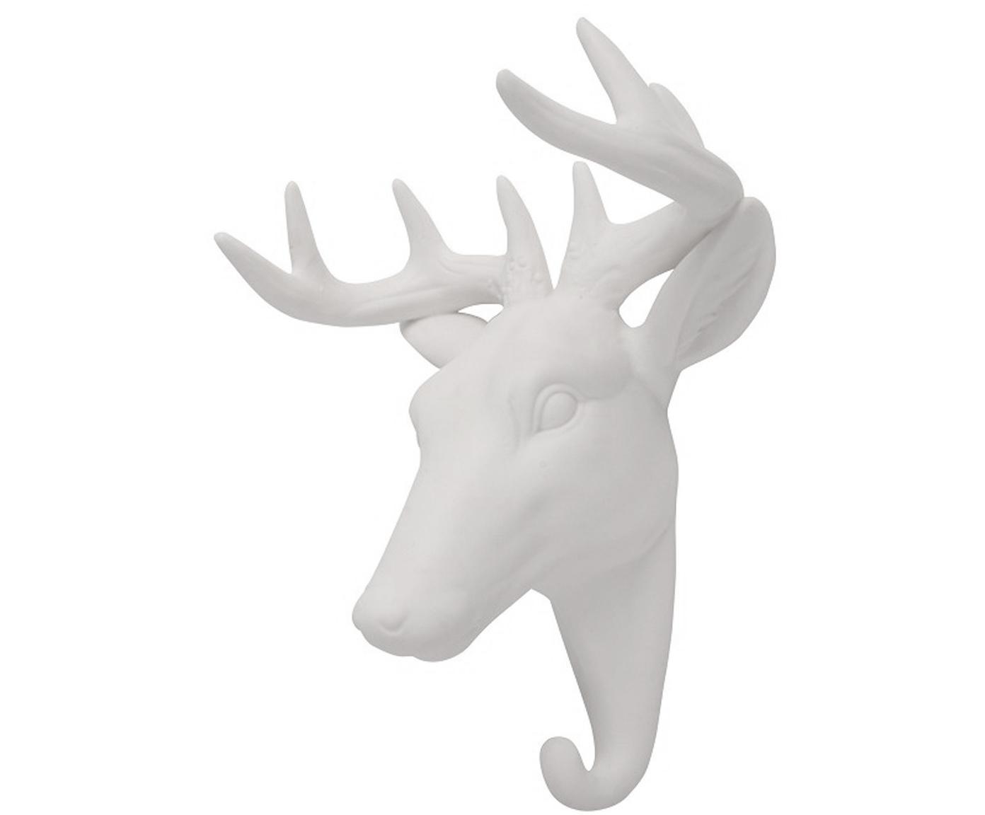 Gancio da parete in porcellana Deer, Porcellana, Bianco, Alt. 16 cm