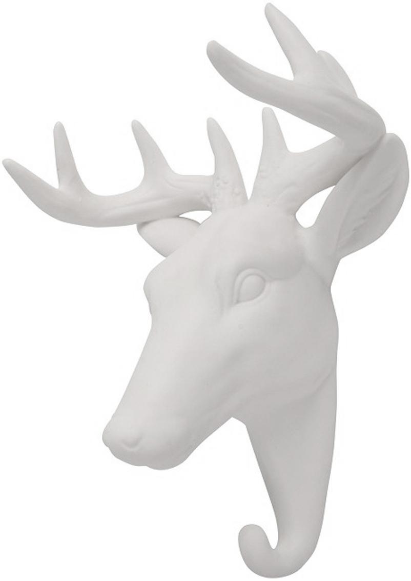 Gancio appendiabiti da parete in porcellana Deer, Porcellana, Bianco, Alt. 16 cm