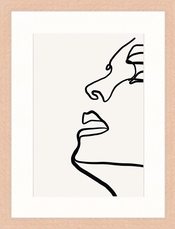 Gerahmter Digitaldruck Half Me, Bild: Digitaldruck auf Papier, , Rahmen: Holz, lackiert, Front: Plexiglas, Hellgrau, Schwarz, 33 x 43 cm