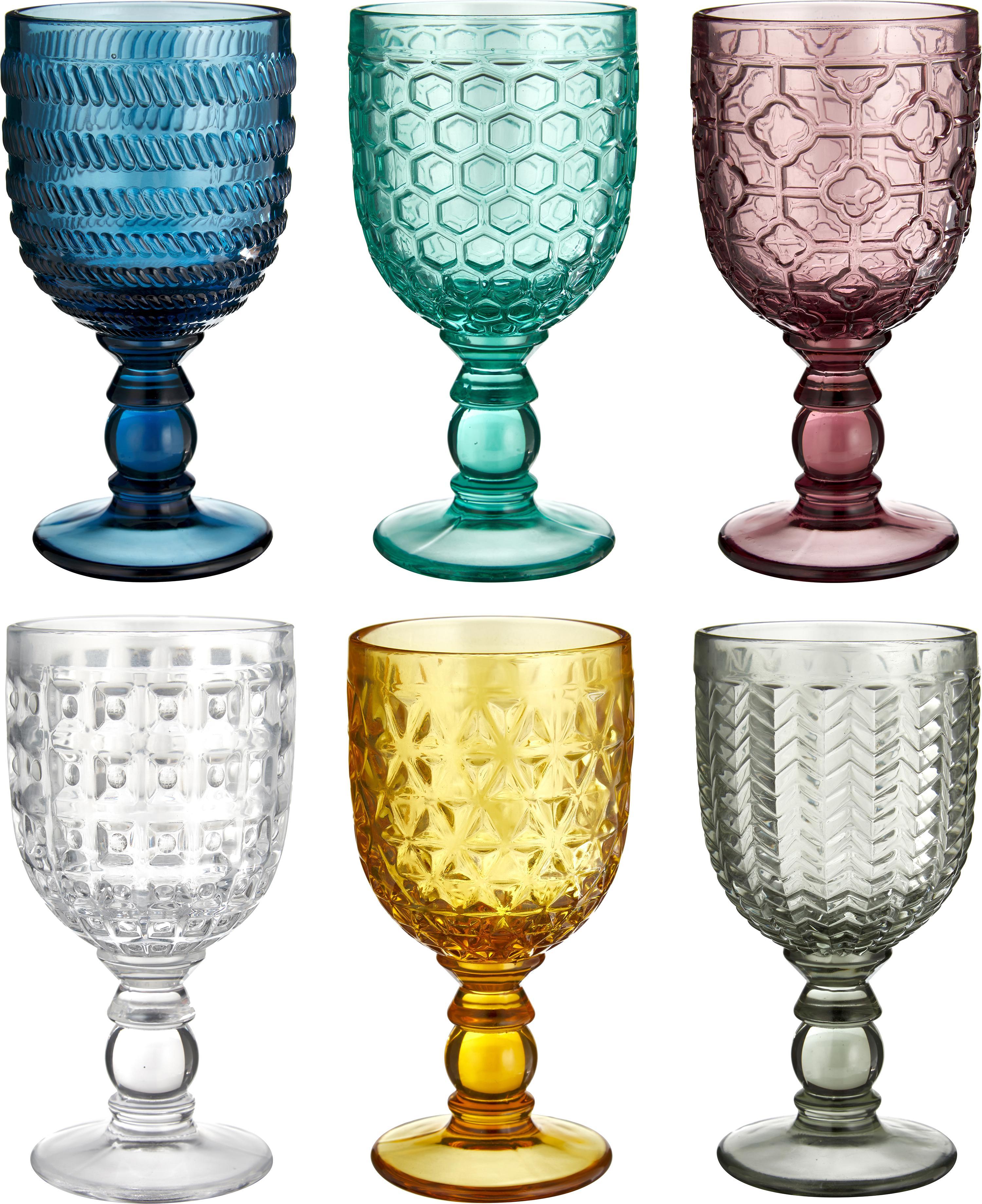 Set 6 bicchierini da vino colorati Geometrie, Vetro, Multicolore, Ø 9 x Alt. 17 cm