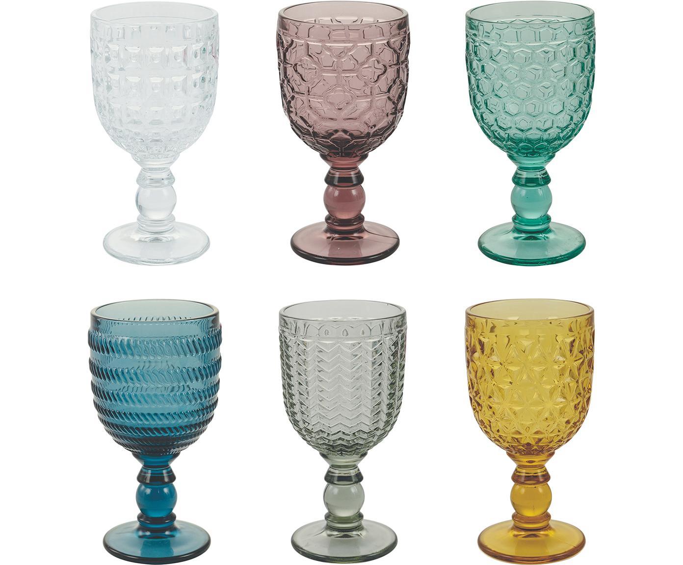 Wijnglazen Geometrie met structuurpatroon in kleur, 6-delig, Glas, Multicolour, Ø 9 x H 17 cm