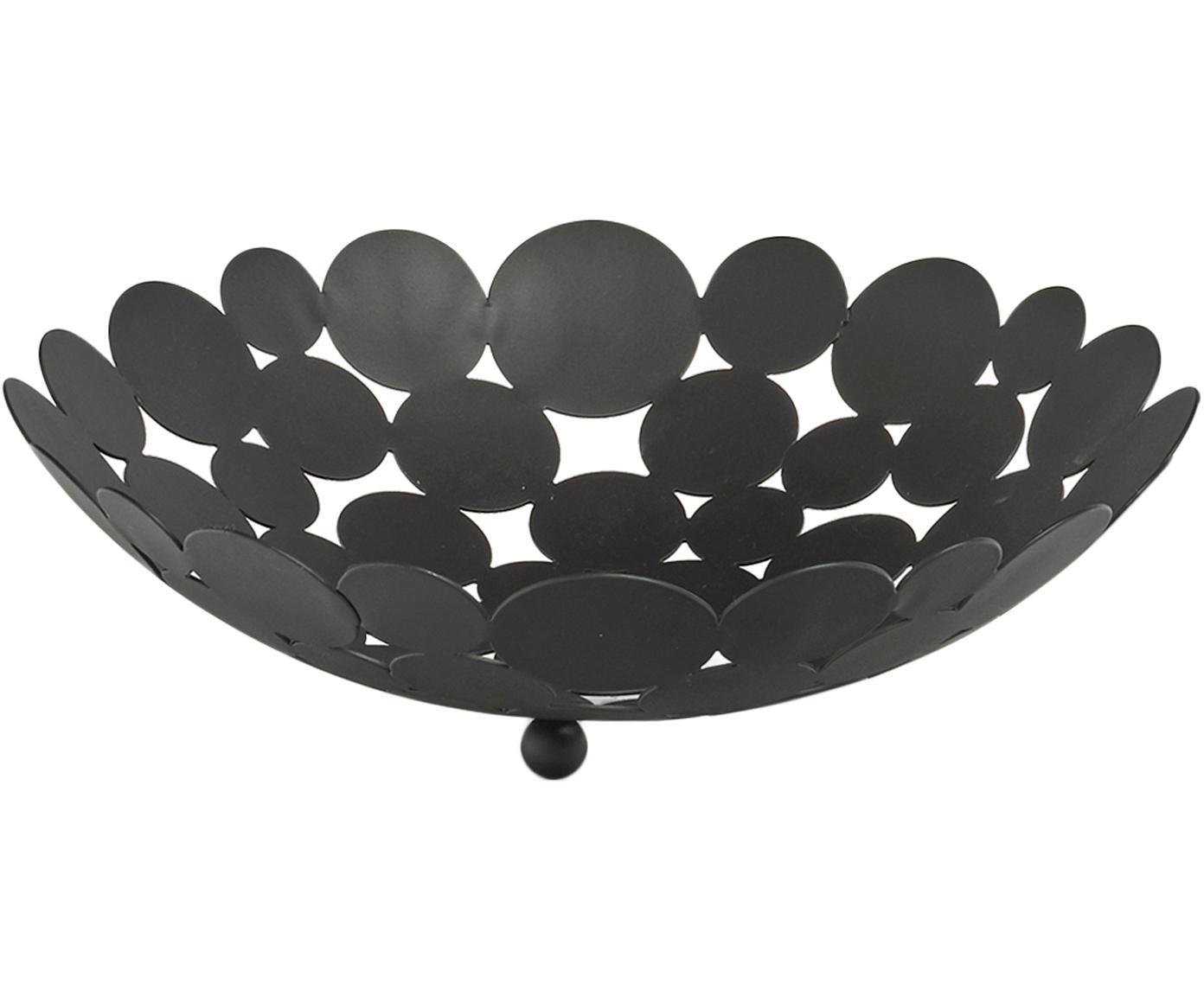 Cesta per frutta Drops, Metallo, Nero, Ø 29 x Alt. 9 cm