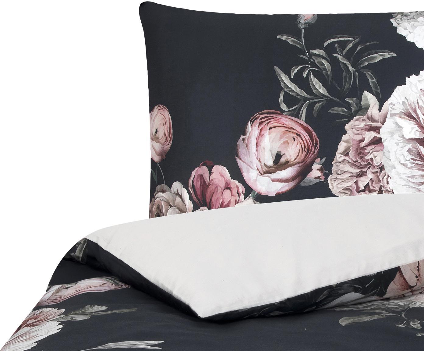 Baumwollsatin-Bettwäsche Blossom mit Blumen-Print, Webart: Satin Fadendichte 210 TC,, Mehrfarbig, Schwarz, 135 x 200 cm + 1 Kissen 80 x 80 cm