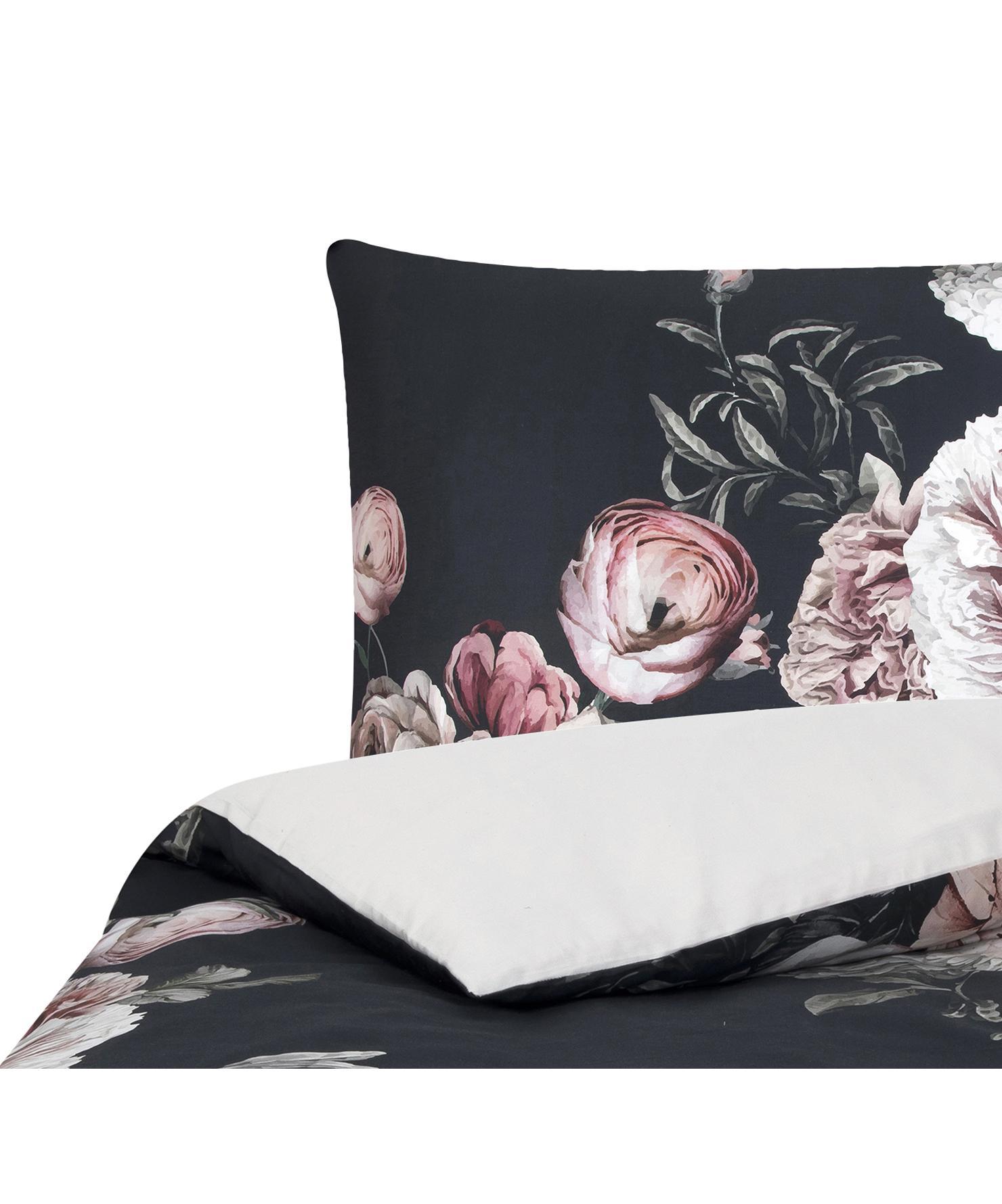 Pościel z satyny bawełnianej Blossom, Wielobarwny, czarny, 135 x 200 cm