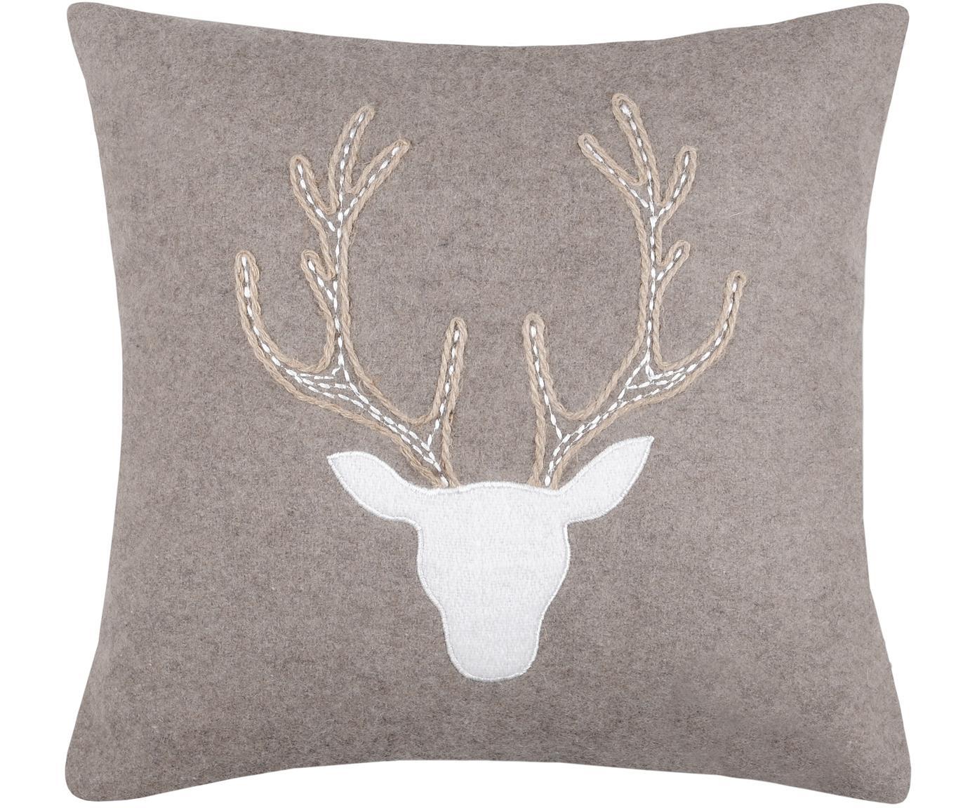 Kissen Tamber mit Hirschmotiv, mit Inlett, Bezug: 50% Baumwolle, 32% Wolle,, Grau, 40 x 40 cm