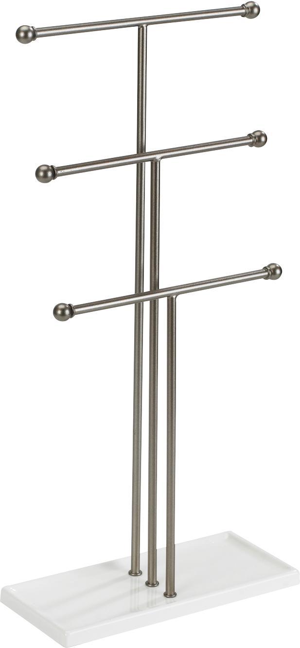 Portagioie Trigem, Struttura: metallo nichelato, Piede: metallo verniciato, Nichel, bianco, Larg. 23 x Prof. 48 cm