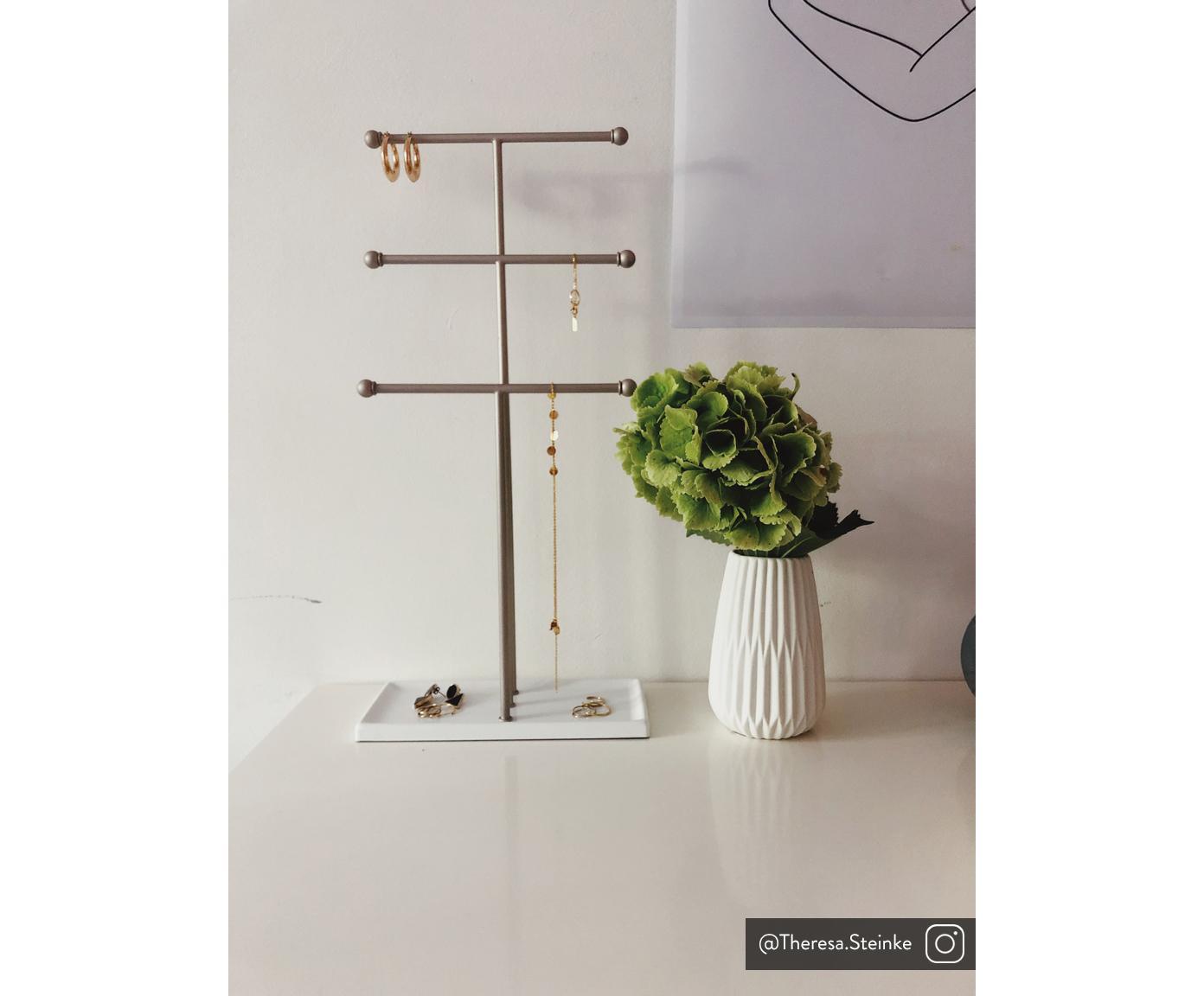 Sieradenhouder Trigem, Frame: vernikkeld metaal, Poten: gelakt metaal, Nikkelkleurig, wit, 23 x 48 cm