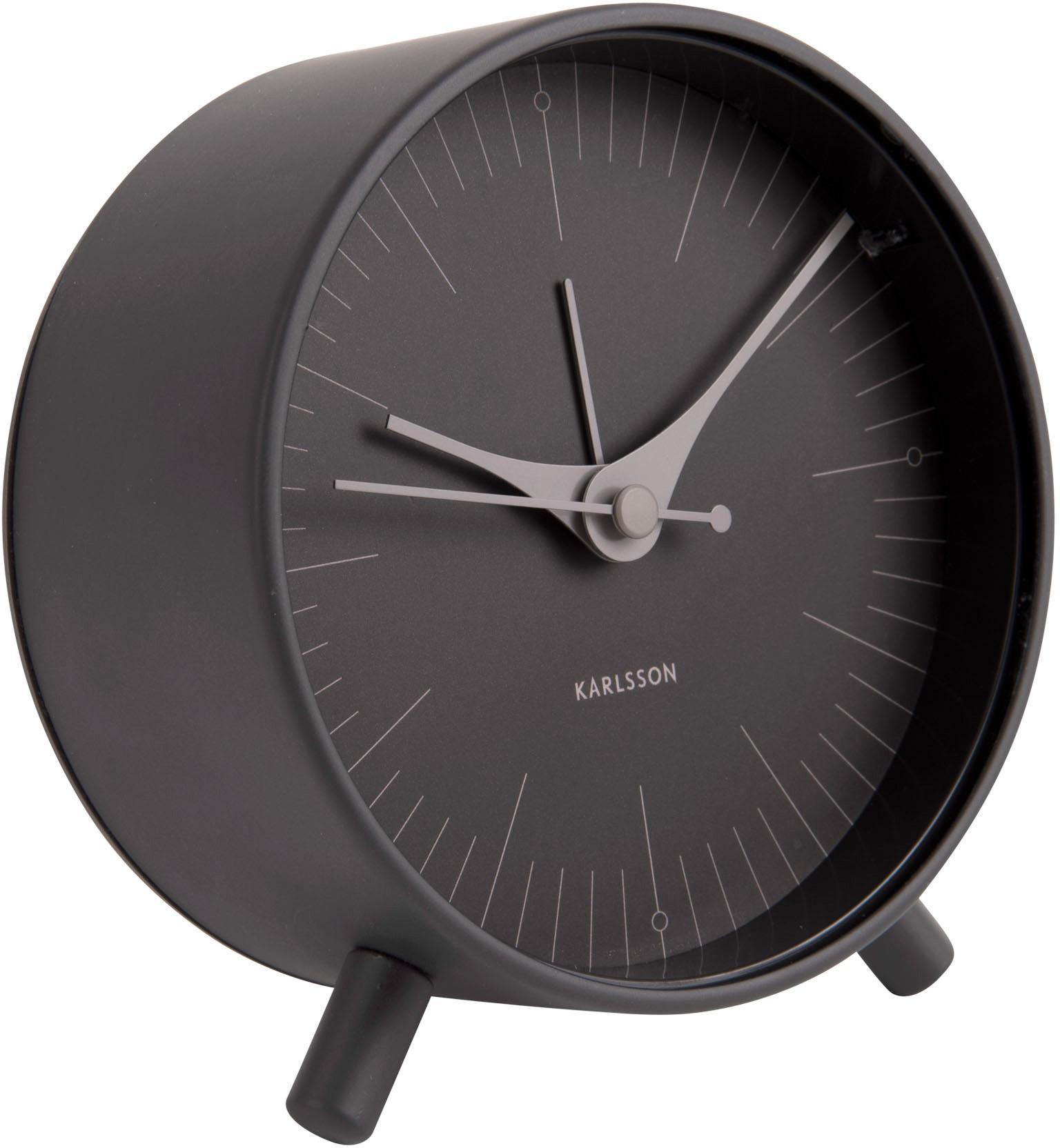 Wecker Index, Metall, beschichtet, Schwarz, Grau, Ø 11 cm