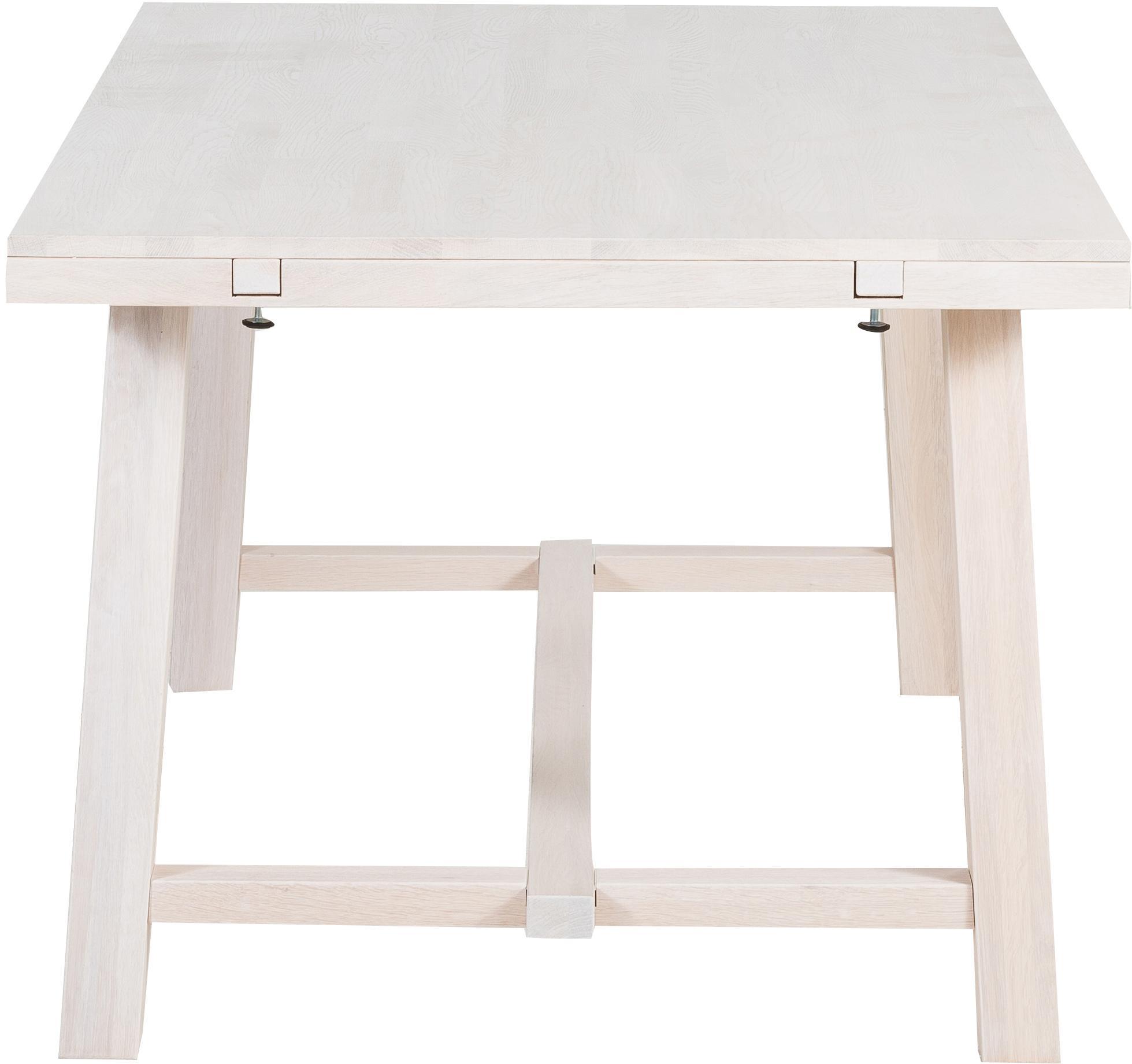 Table extensible en chêne massifBrooklyn, Bois de chêne, blanc délavé