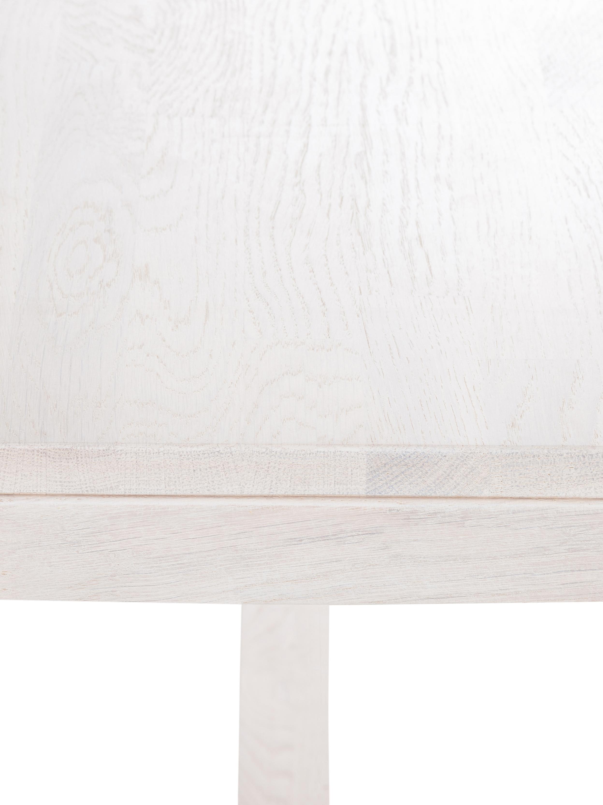 Verlengbare massief houten eettafel Brooklyn uit eikenhout, Massief, wit gewassen en geolied eikenhout, Wit gewassen eikenhout, B 170 tot 220 x D 95 cm