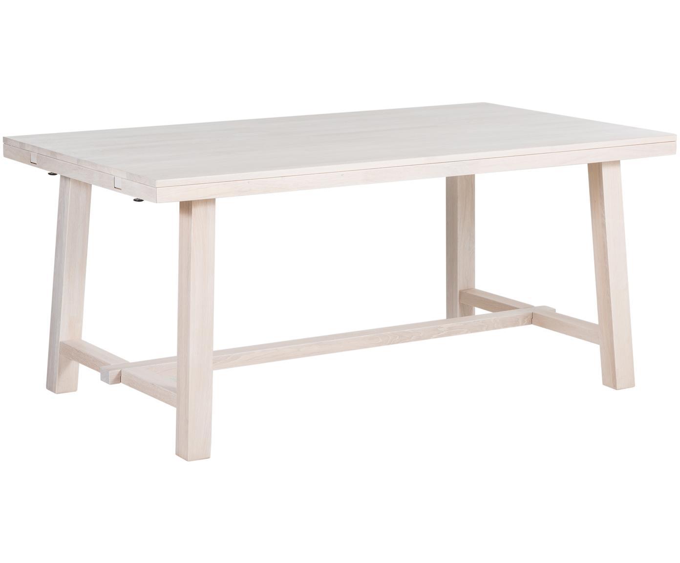 Verlängerbarer Massivholz Esstisch Brooklyn aus Eiche, Eichenholz, massiv, weiß gewaschen und geölt, Eichenholz, weiß gewaschen, B 170 bis 220 x T 95 cm