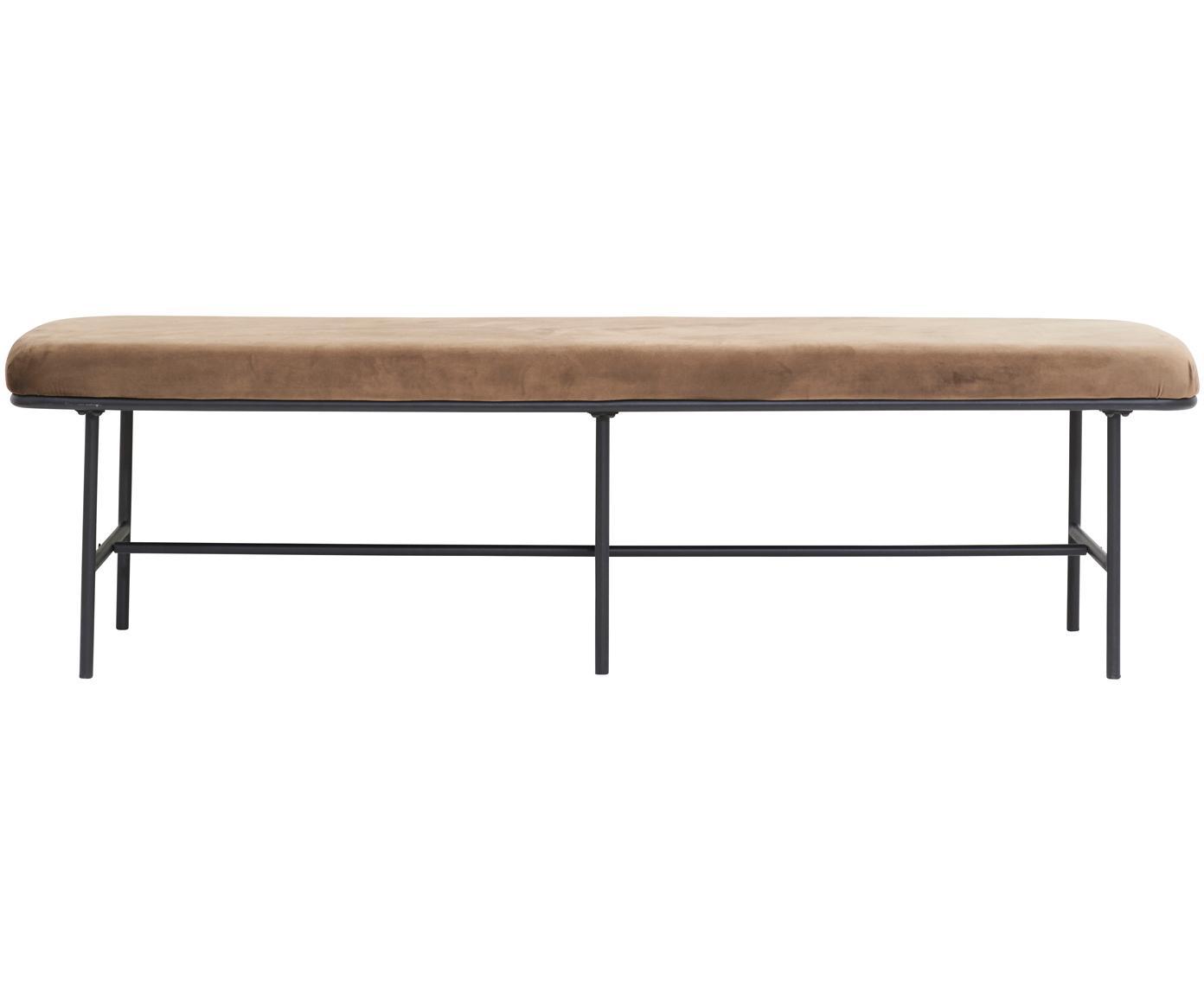 Fluwelen zitbank Comma, Bekleding: polyester fluweel, Frame: gepoedercoat staal, Bekleding: bruin. Frame: zwart, B 160 cm