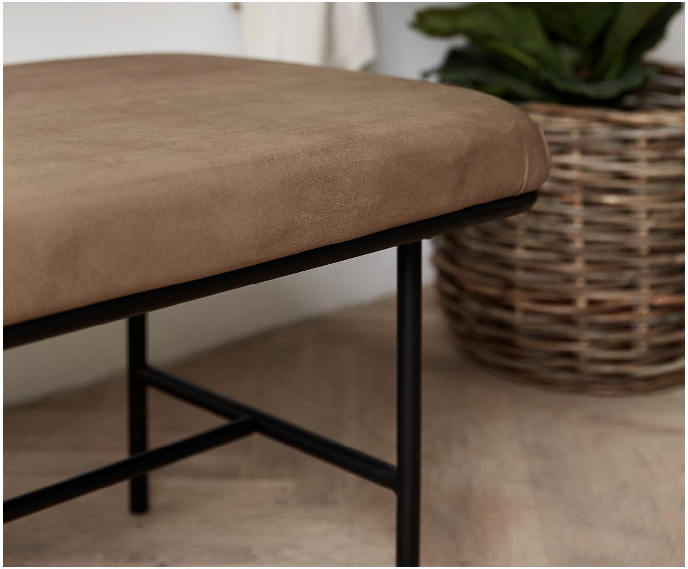 Samt-Sitzbank Comma, Bezug: Polyestersamt, Gestell: Stahl, pulverbeschichtet, Bezug: BraunGestell: Schwarz, 160 x 46 cm