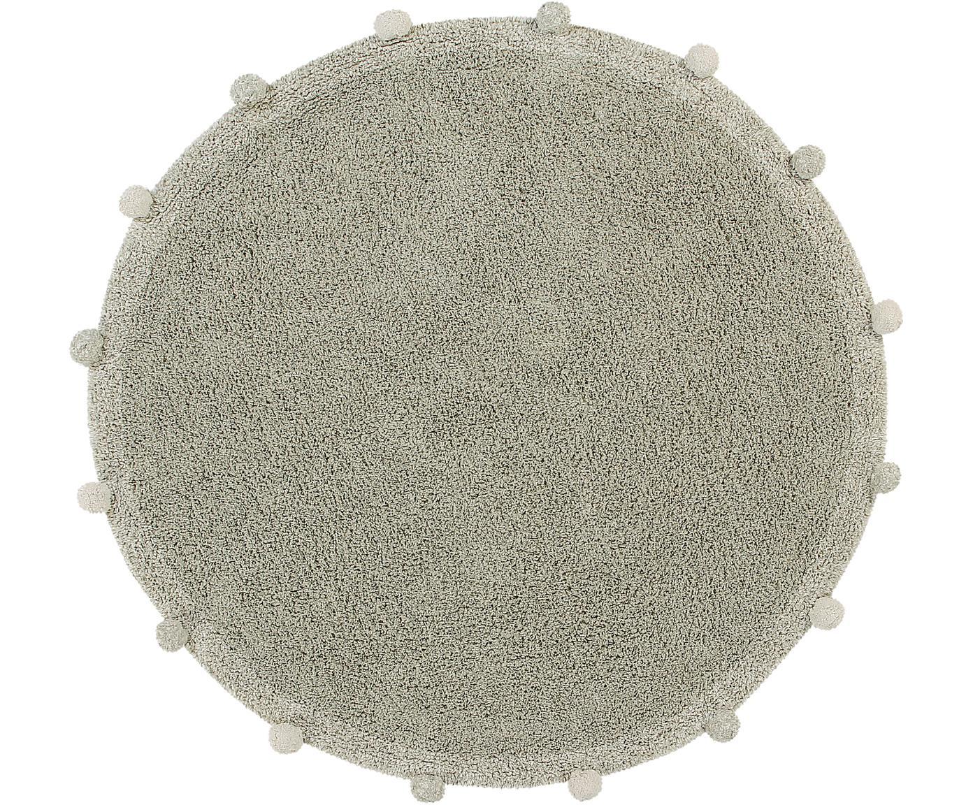 Alfombra redonda artesanal con pomopones Bubbly, Parte superior: 97%algodón reciclado, 3%, Reverso: algodón reciclado, Verde, crema, Ø 120 cm (Tamaño S)