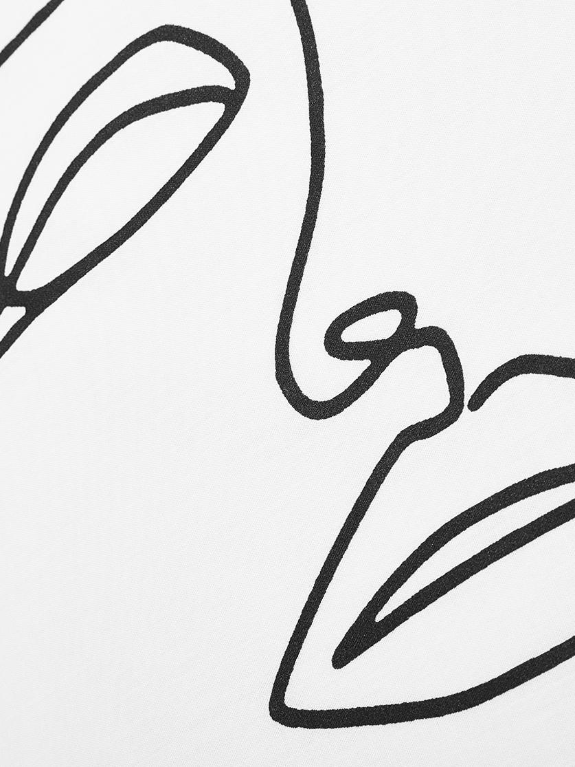 Baumwollperkal-Kissenbezüge Aria mit One Line Zeichnung, 2 Stück, Webart: Perkal Fadendichte 180 TC, Weiß, Schwarz, 40 x 80 cm
