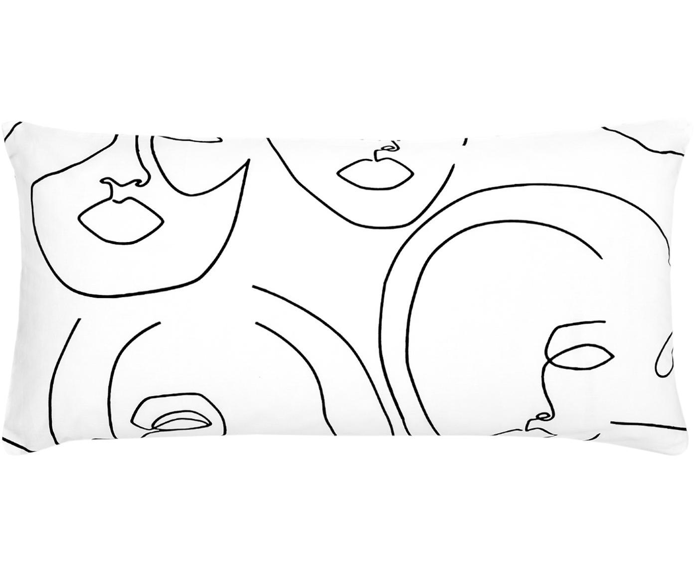 Poszewka na poduszkę z perkalu Aria, 2szt., Biały, czarny, S 40 x D 80 cm