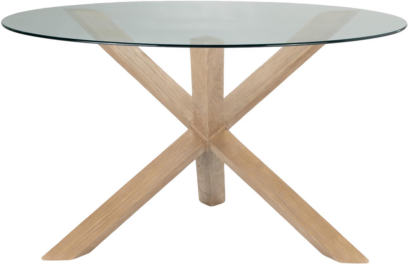 Mesa de comedor redonda Hélice, Patas: madera de roble, Tablero: vidrio templado, Marrón, transparente, Ø 135 x Al  cm