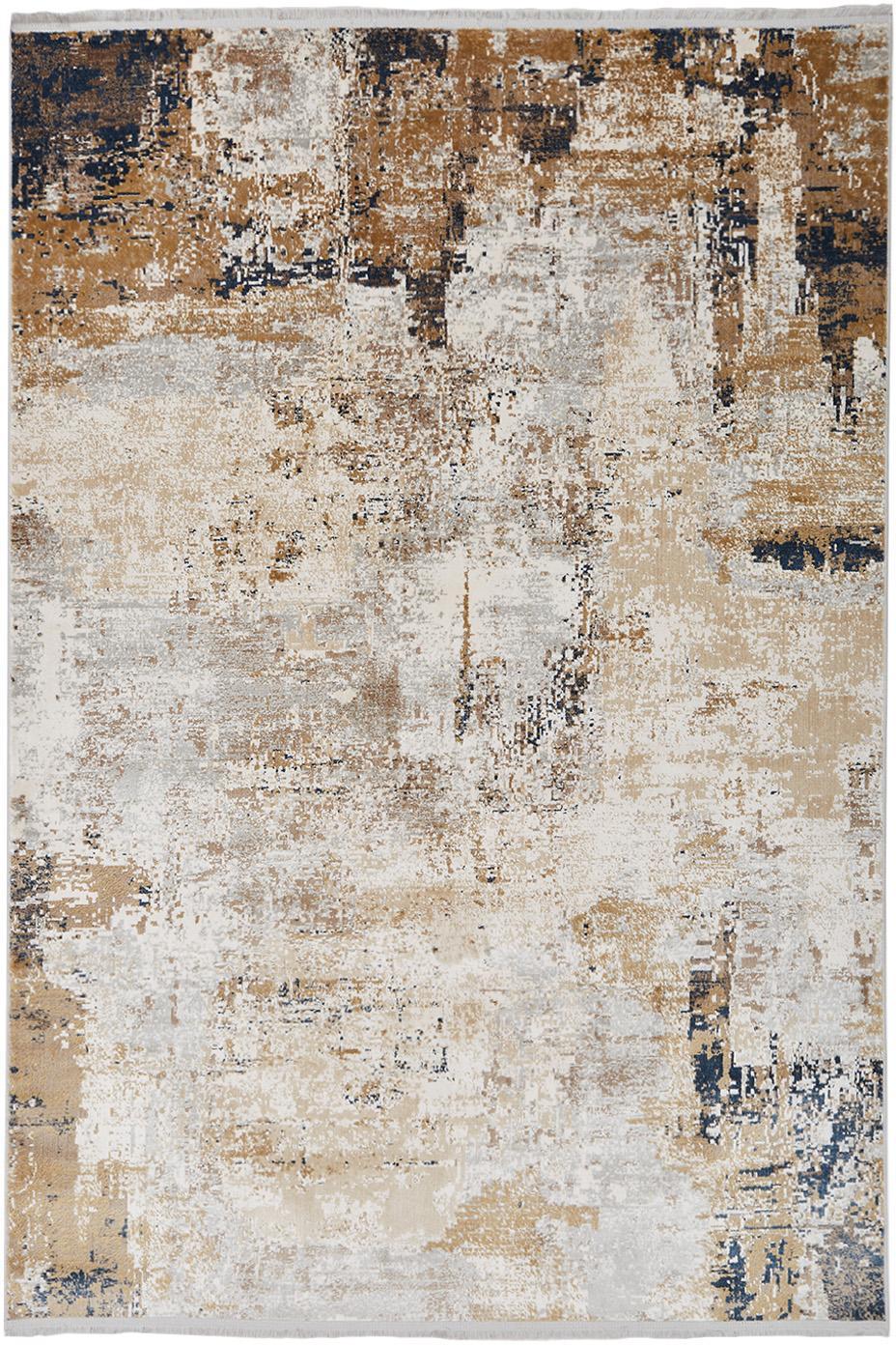 Alfombra Verona, Parte superior: viscosa, acrílico, Reverso: poliéster, Crema, beige, gris, marrón, azul oscuro, An 80 x L 150 cm (Tamaño XS)