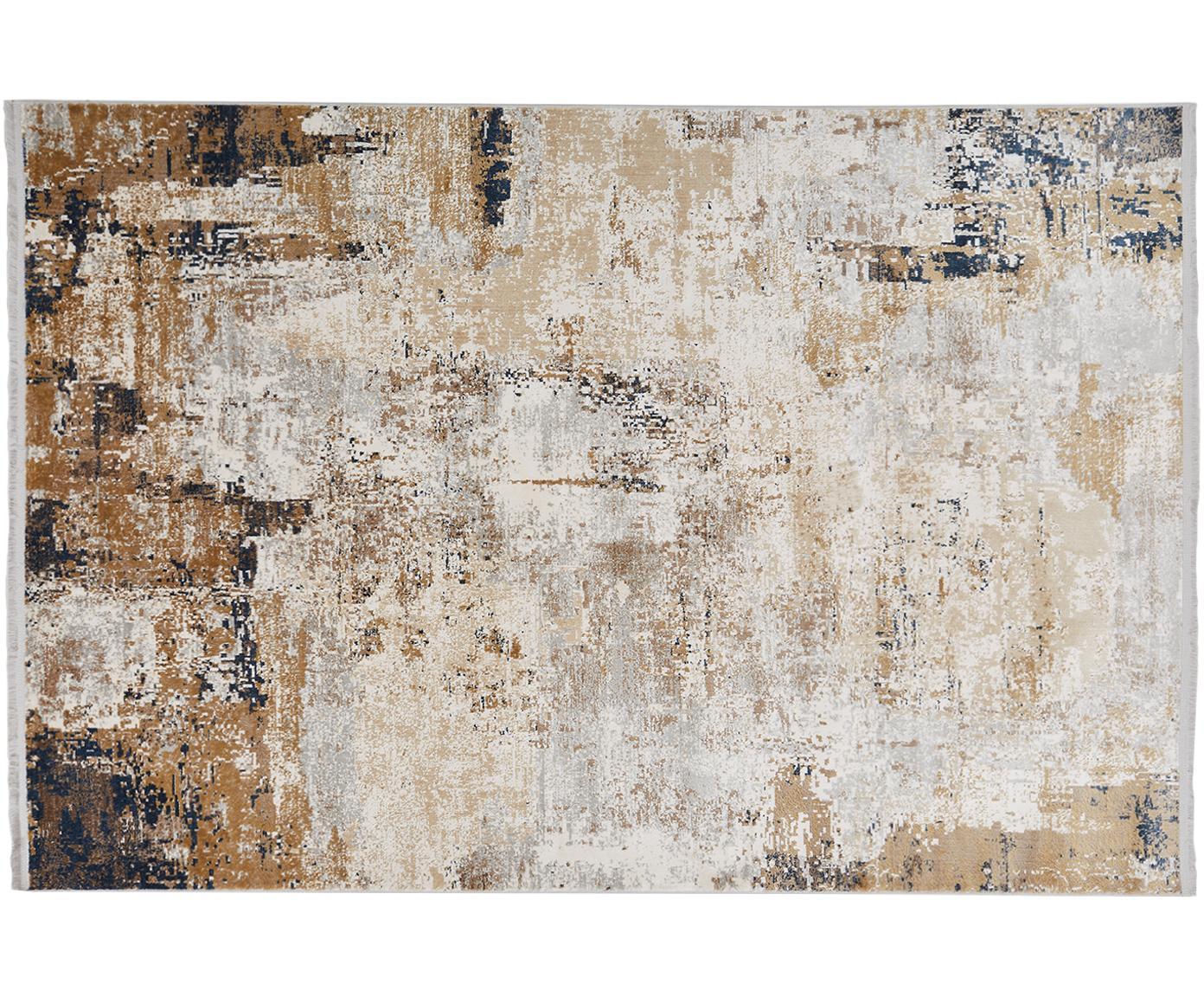 Vloerkleed Verona, Bovenzijde: viscose, acryl, Crèmekleurig, beige, grijs, bruin, donkerblauw, B 80 x L 150 cm (maat XS)