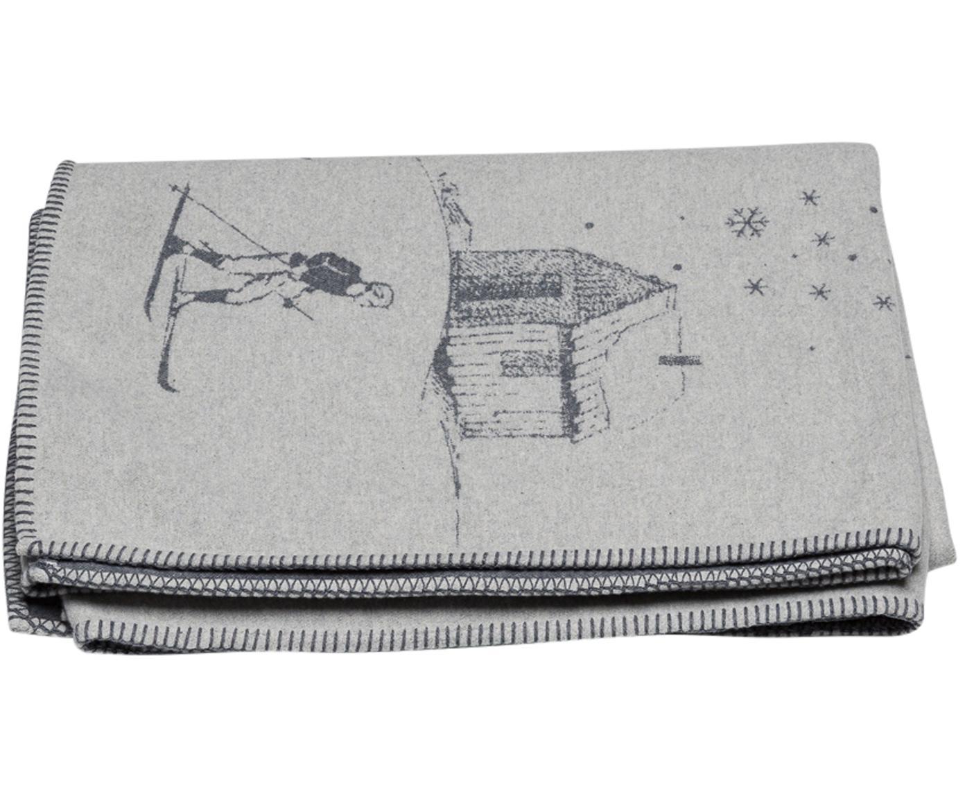 Plaid Sylt mit winterlichen Motiven, Bezug: 85% Baumwolle, 8% Viskose, Grau, Dunkelgrau, 150 x 200 cm