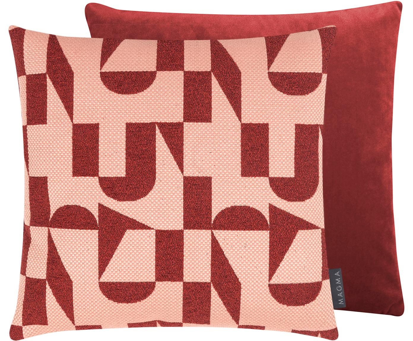 Funda de cojín, caras distintas Abigail, Parte superior: jacquard (48%poliéster, , Parte trasera: terciopelo de poliéster, Rosa, rojo cobrizo, An 40 x L 40 cm