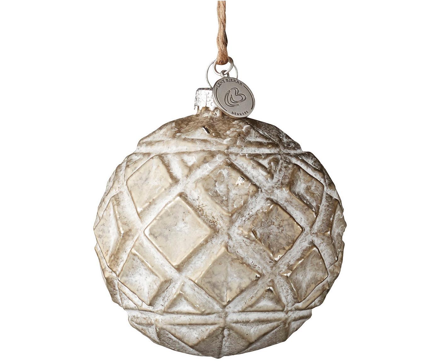 Kerstballen Fedora, 2 stuks, Beige, wit, Ø 8 x H 8 cm