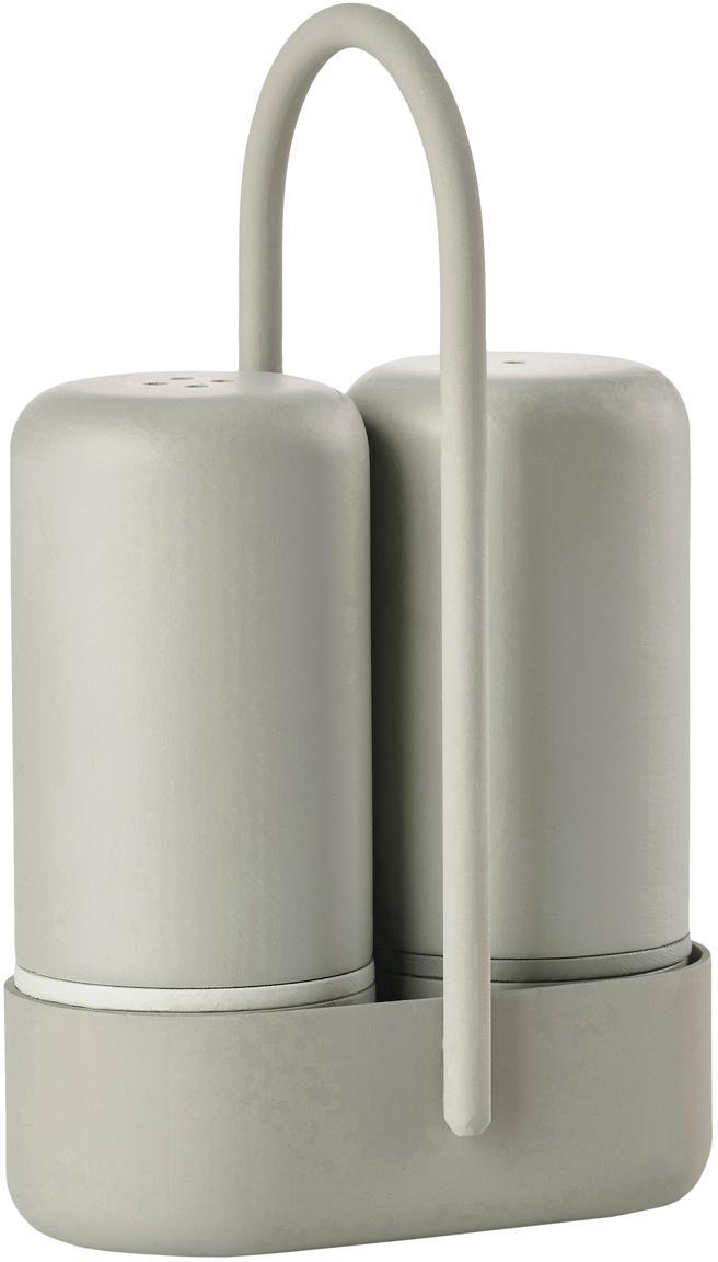 Salz- und Pfefferstreuer-Set Henk mit Gestell, 3-tlg., Kunststoff (ABS), Metall, Greige, B 7 x T 3 cm