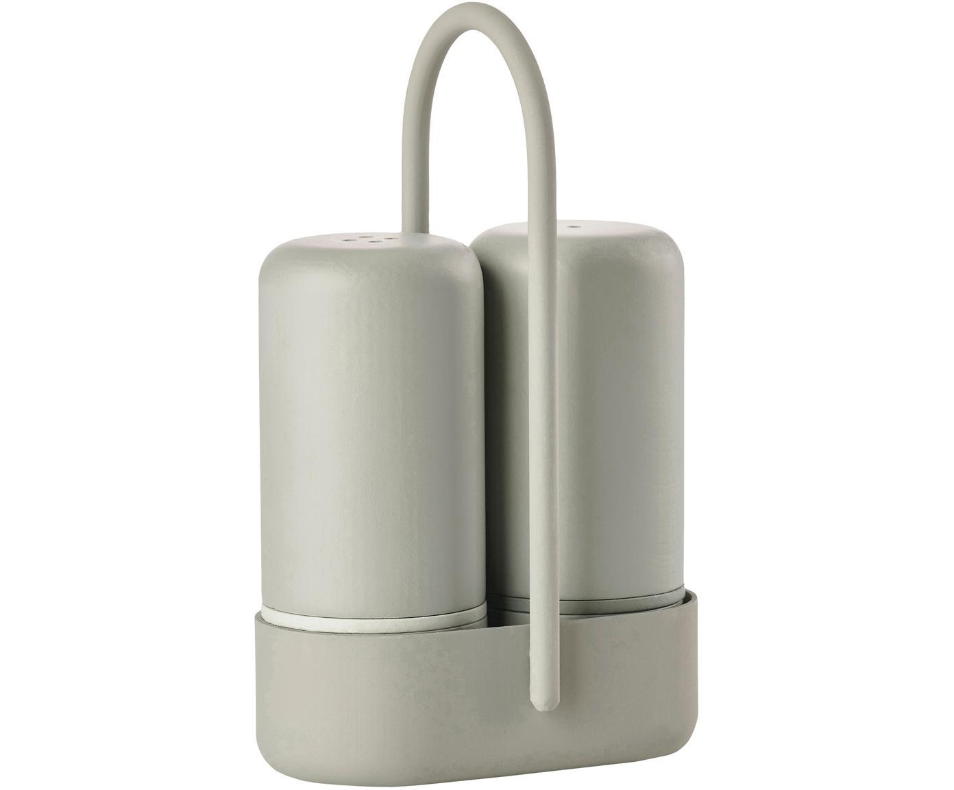 Solniczka i pieprzniczka z uchwytem Henk, 3 elem., Tworzywo sztuczne (ABS), metal, Greige, S 7 x G 3 cm