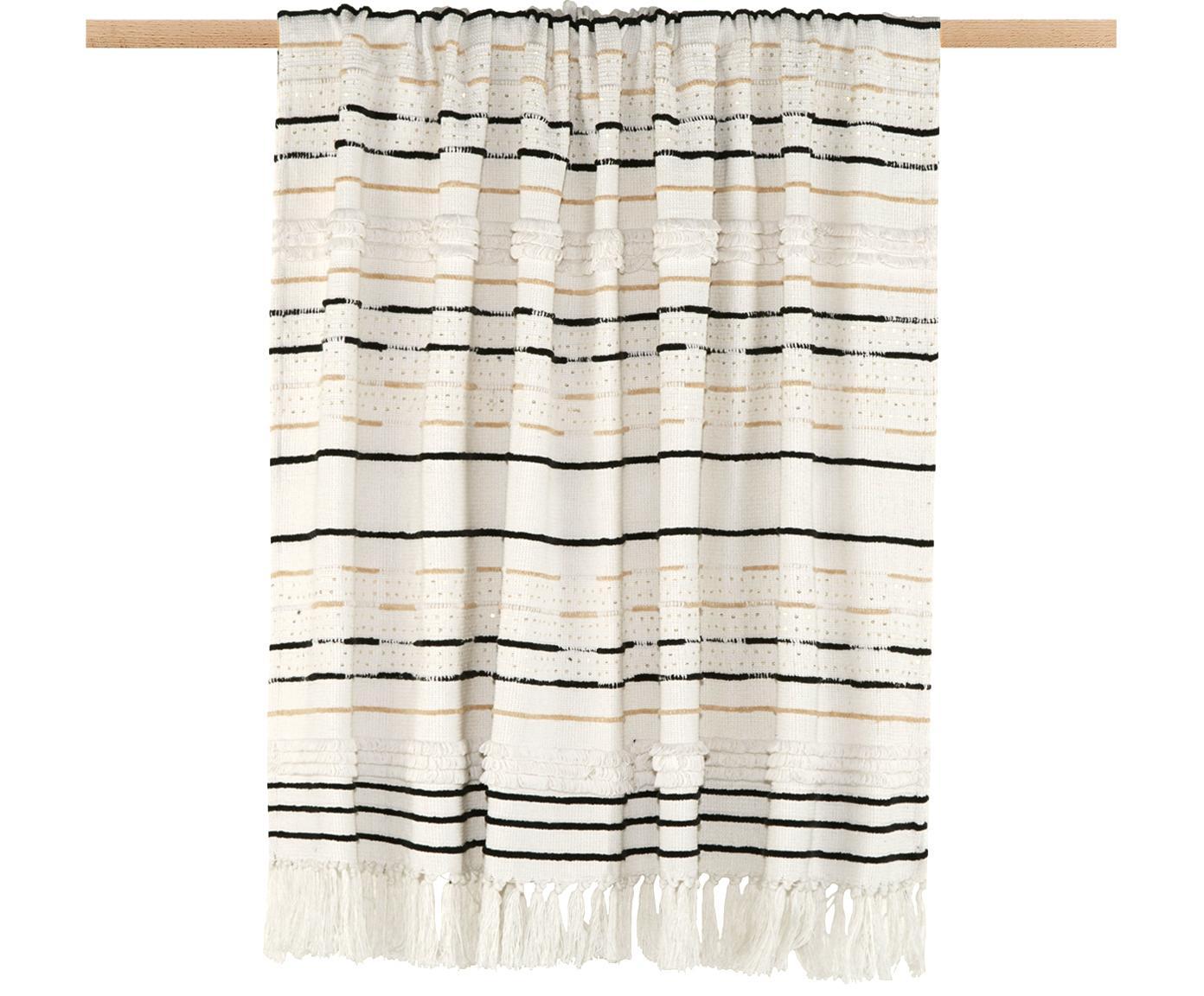Plaid Lena mit Strukturmuster und Pailletten, Plaid: 100% Baumwolle, Gebrochenes Weiß, Schwarz, Hellbeige, 130 x 170 cm
