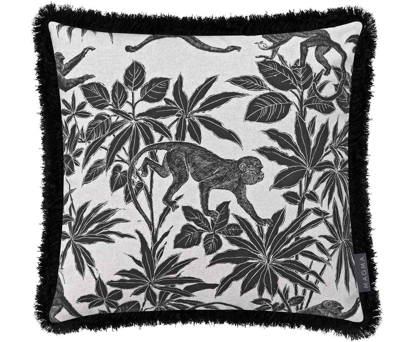 Poszewka na poduszkę z frędzlami Monkey, 90%bawełna, 10%poliester, Czarny, złamana biel, S 40 x D 40 cm