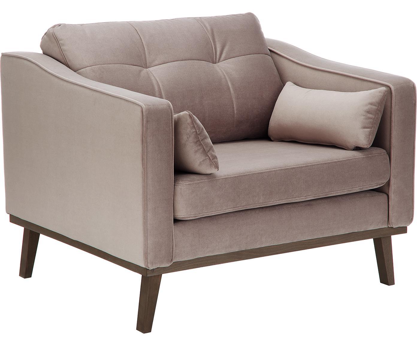 Fluwelen fauteuil Alva, Bekleding: fluweel (hoogwaardig poly, Frame: massief grenenhout, Poten: massief gebeitst beukenho, Taupe, B 102 x D 92 cm
