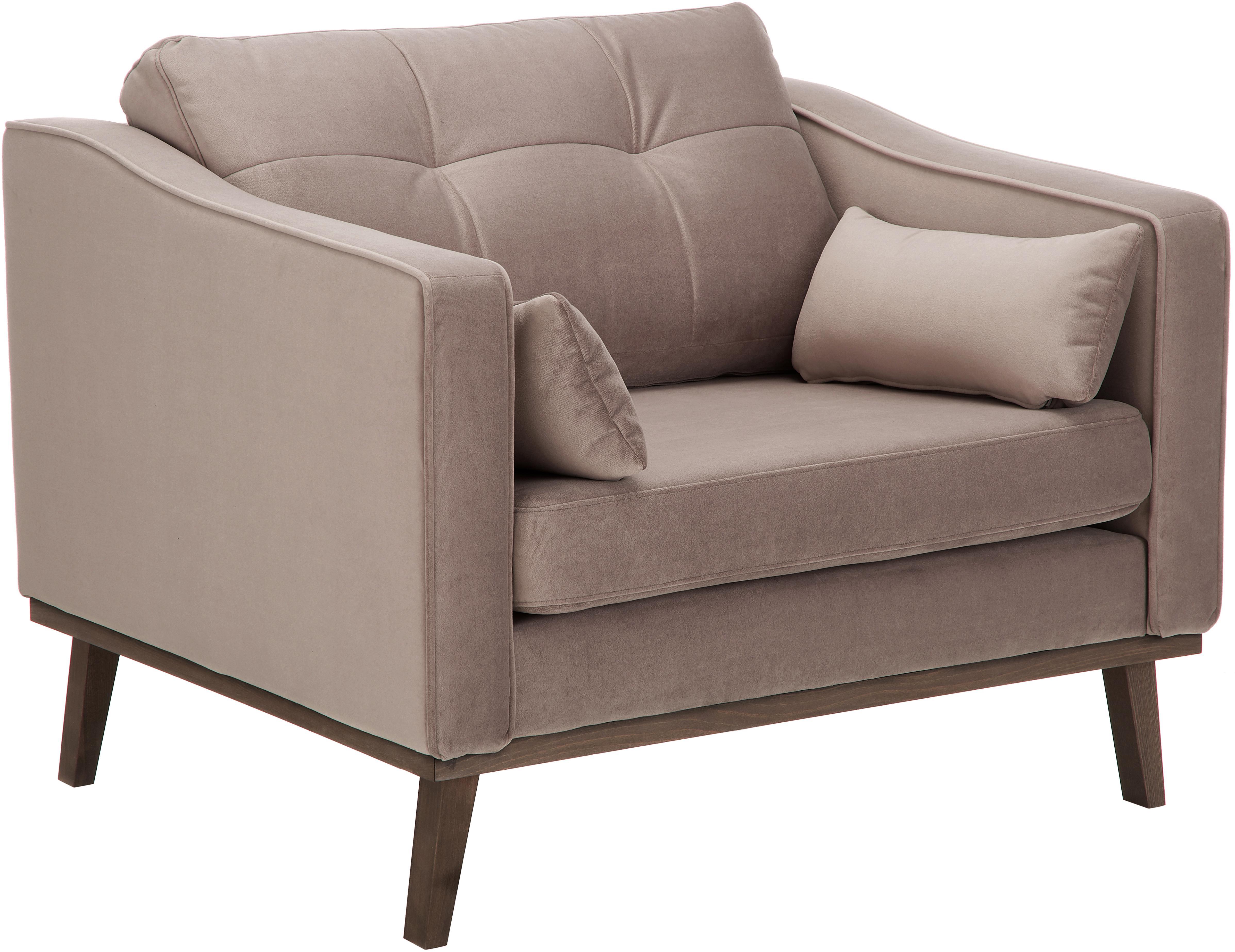 Fotel z aksamitu Alva, Tapicerka: aksamit (wysokiej jakości, Stelaż: drewno sosnowe, Nogi: lite drewno bukowe, barwi, Tapicerka: taupe Nogi: drewno bukowe, ciemno barwione, S 102 x G 92 cm