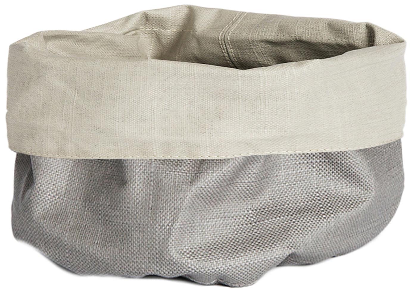 Cestino per pane in lino Patinn, 55% lino, 45% cotone, rivestimento in poliuretano, Beige, grigio chiaro, Ø 16 x Alt. 20 cm