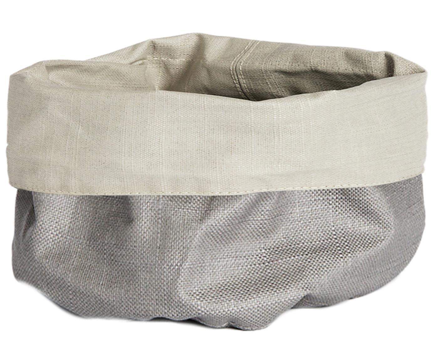 Panera pequeña de lino Patinn, 55%lino, 45%algodón, recubierto en poliuretano, Beige, gris claro, Ø 16 x Al 20 cm