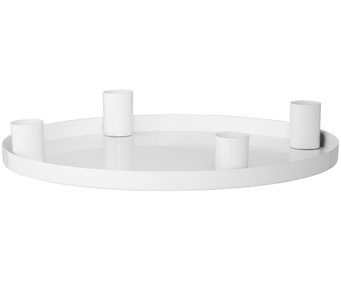 Kaarsenhouder Advent, Gecoat metaal, Wit, Ø 25 x H 4 cm
