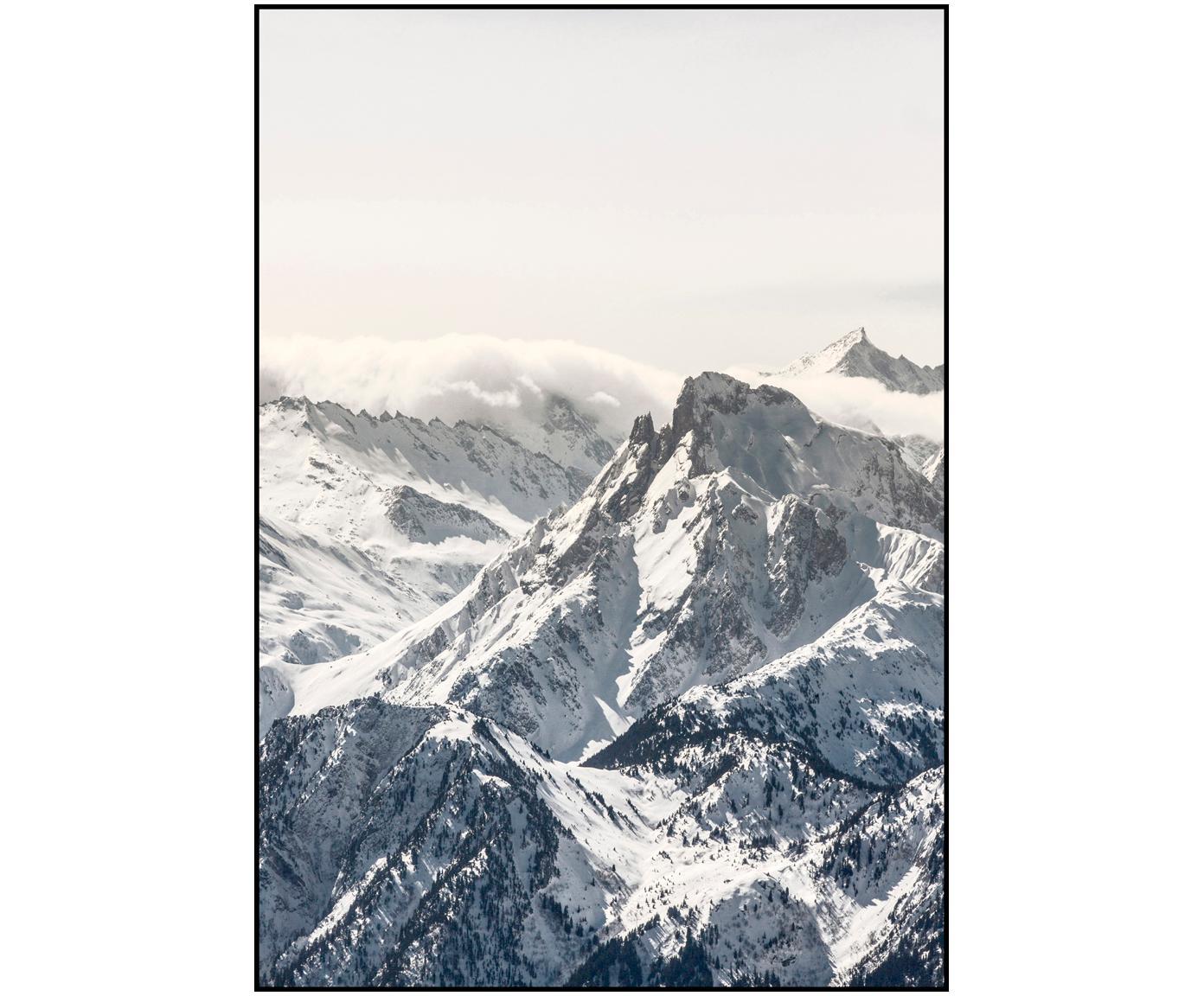 Ingelijste digitale print White Mountain, Afbeelding: digitale druk op papier (, Lijst: gelakt HDF, Zwart, wit, grijs, 70 x 100 cm