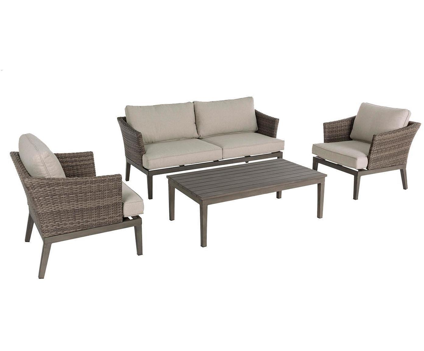 Set lounge de exterior Coconut, 4 pzas., Aluminio Poliéster Fibra sintética, Gris, marrón, Sondergrößen