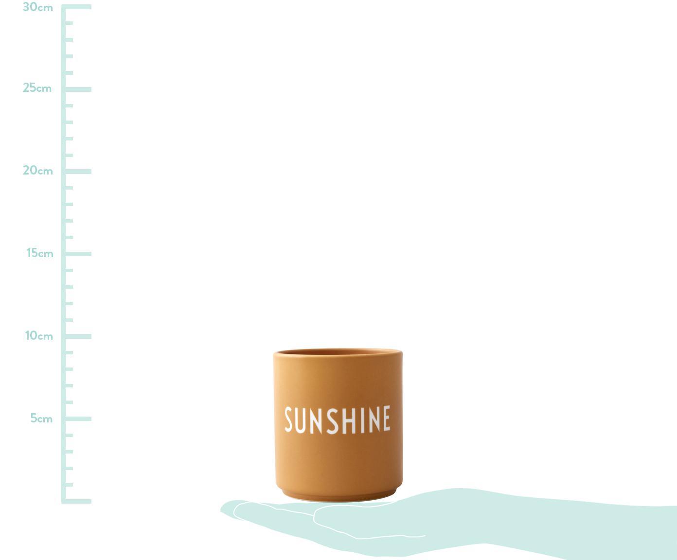 Design Becher Favourite SUNSHINE in Gelb mit Schriftzug, Fine Bone China (Porzellan), Senfgelb, Weiß, Ø 8 x H 9 cm