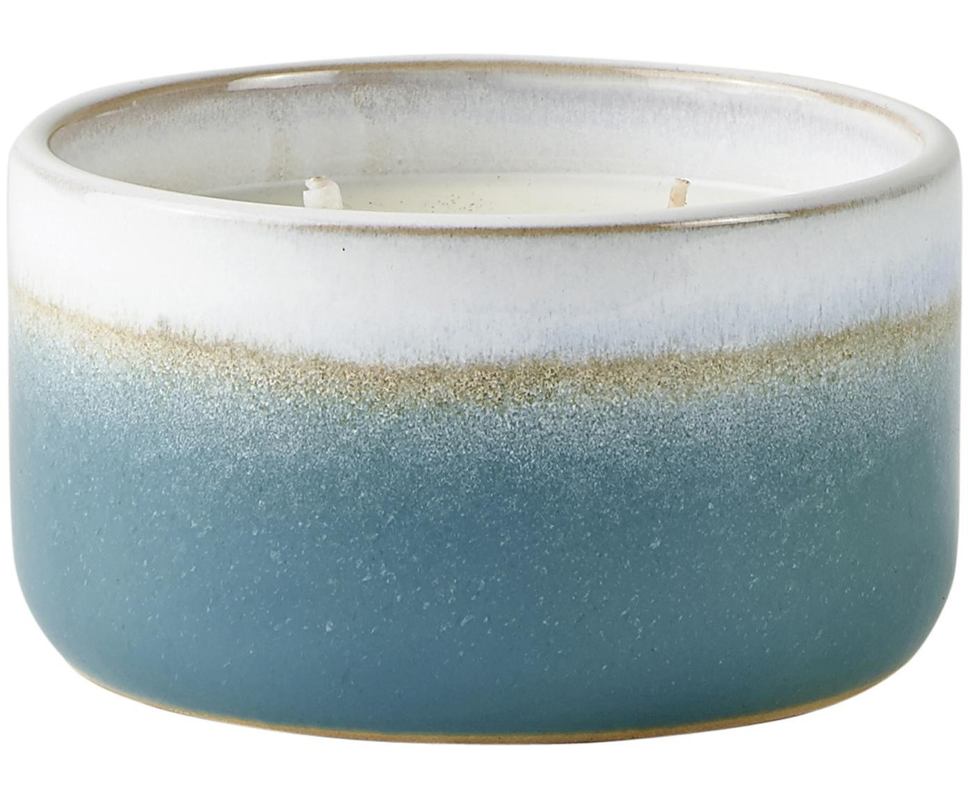 Świeca zapachowa Awua (kwiat bawełny), Niebieski, beżowy, biały, Ø 12 x W 7 cm