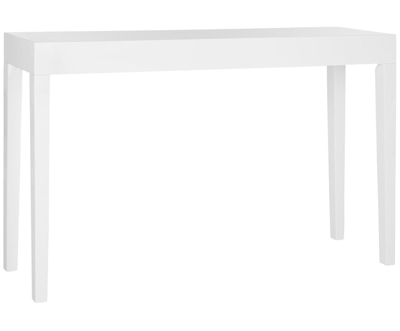 Consolle fatta a mano Kayson, Pannello di fibra a media densità (MDF), Bianco, Larg. 130 x Prof. 34 cm