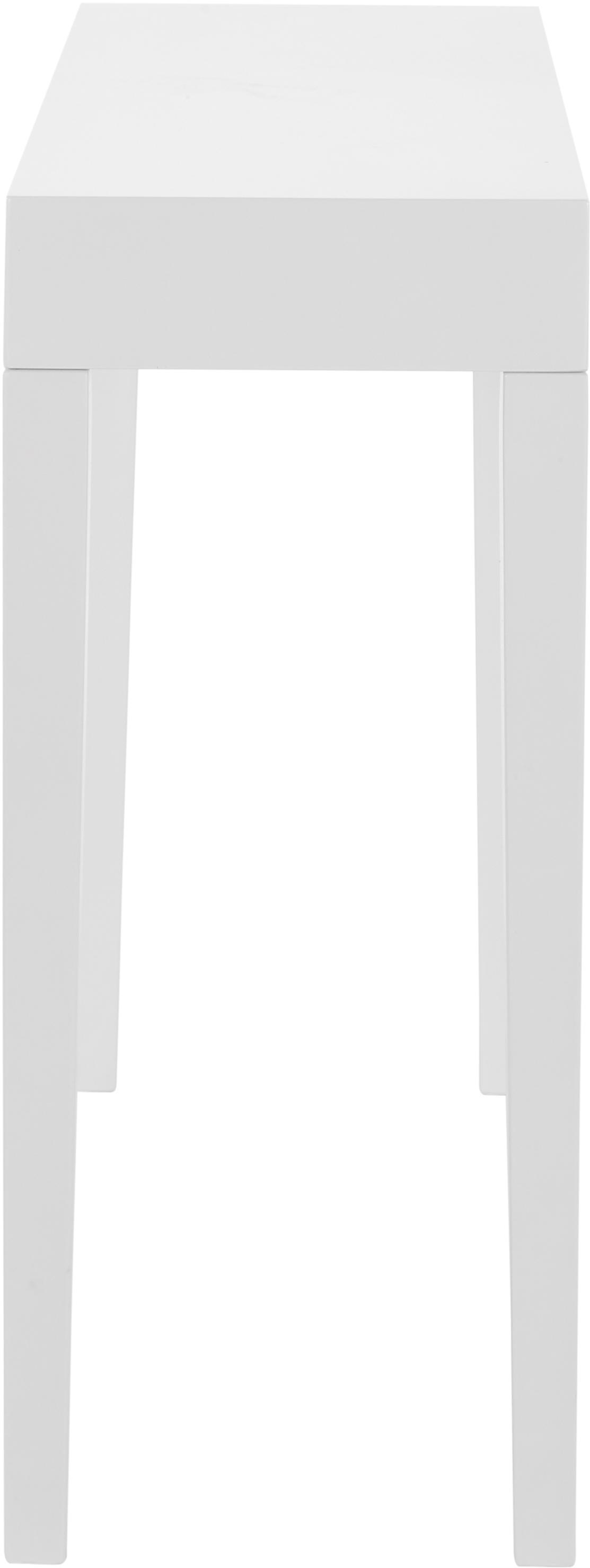 Handgefertigte Konsole Kayson, Mitteldichte Holzfaserplatte (MDF), Weiß, B 130 x T 34 cm
