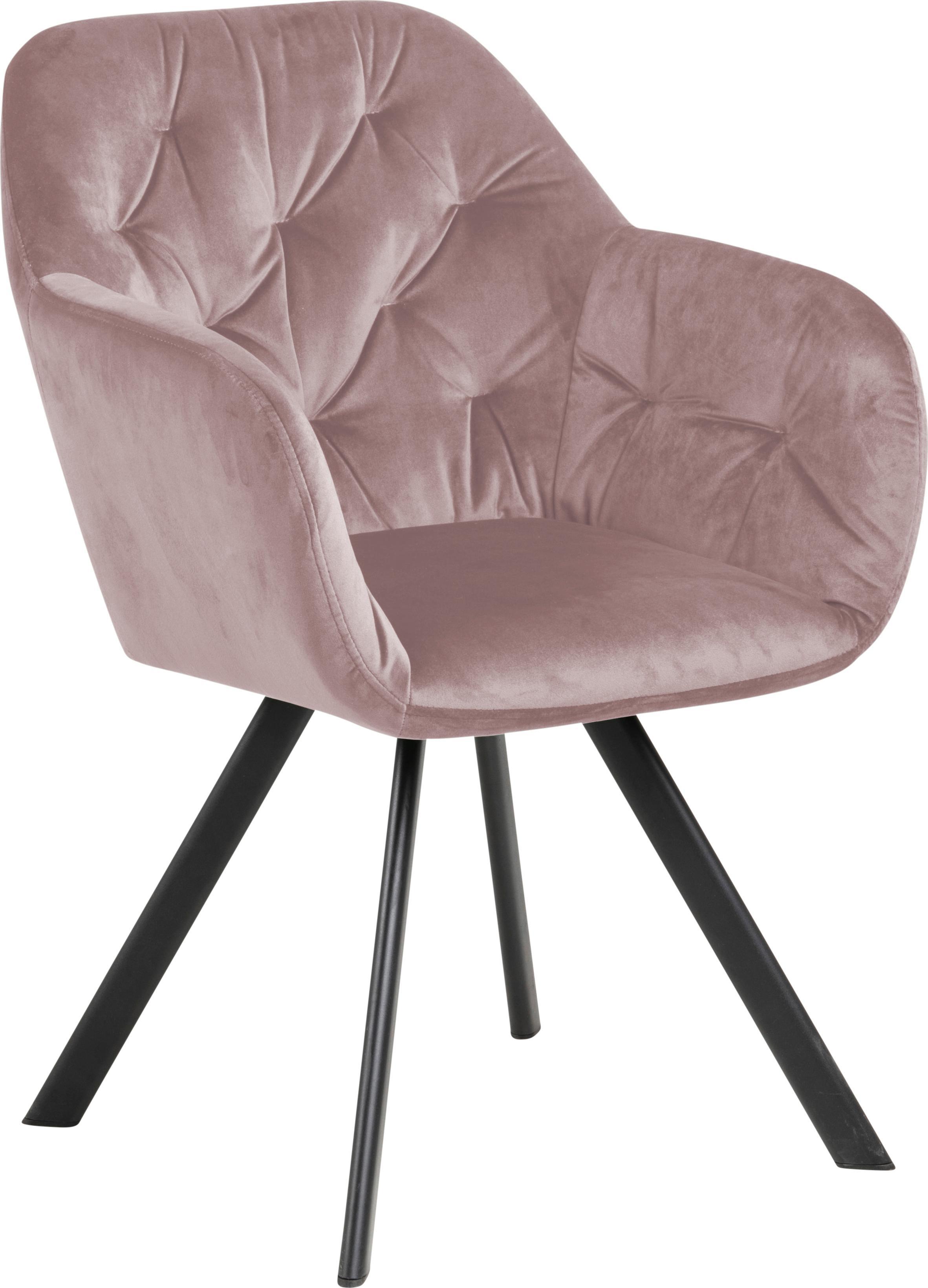 Krzesło z podłokietnikami z aksamitu Lola, Tapicerka: aksamit poliestrowy 2500, Nogi: metal malowany proszkowo, Aksamitny brudny różowy, S 58 x G 62 cm