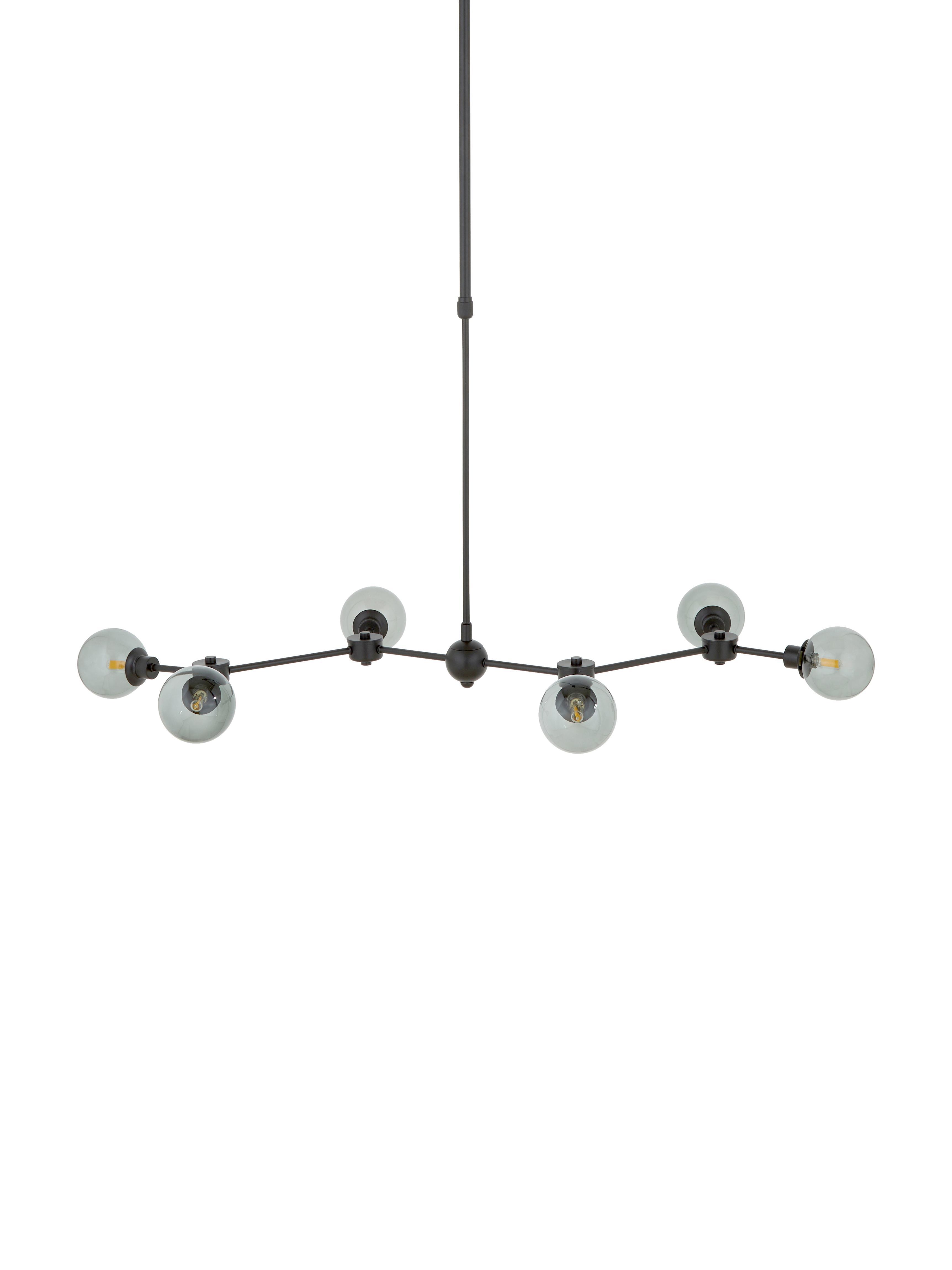 Lampada a sospensione Aurelia, Paralume: vetro, Nero, grigio, Larg. 110 x Alt. 90-150 cm