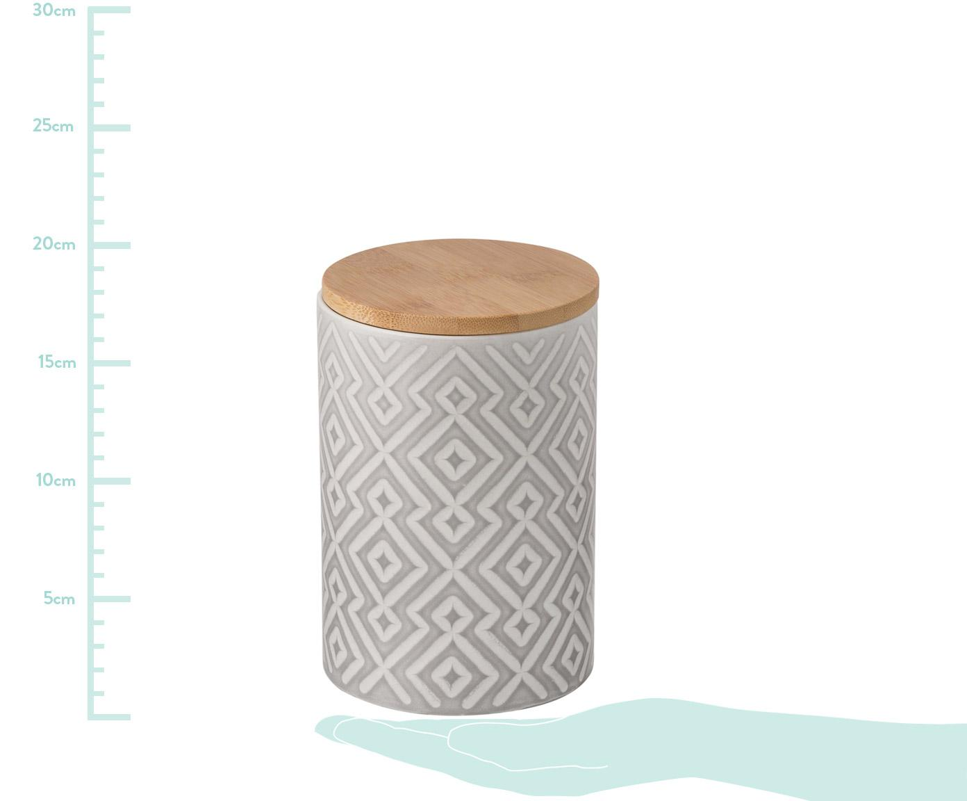 Aufbewahrungsdose Abella, Dose: Keramik, Deckel: Bambus, Dose: Zementgrau, Weiß<br>Deckel: Bambus, Ø 11 x H 17 cm