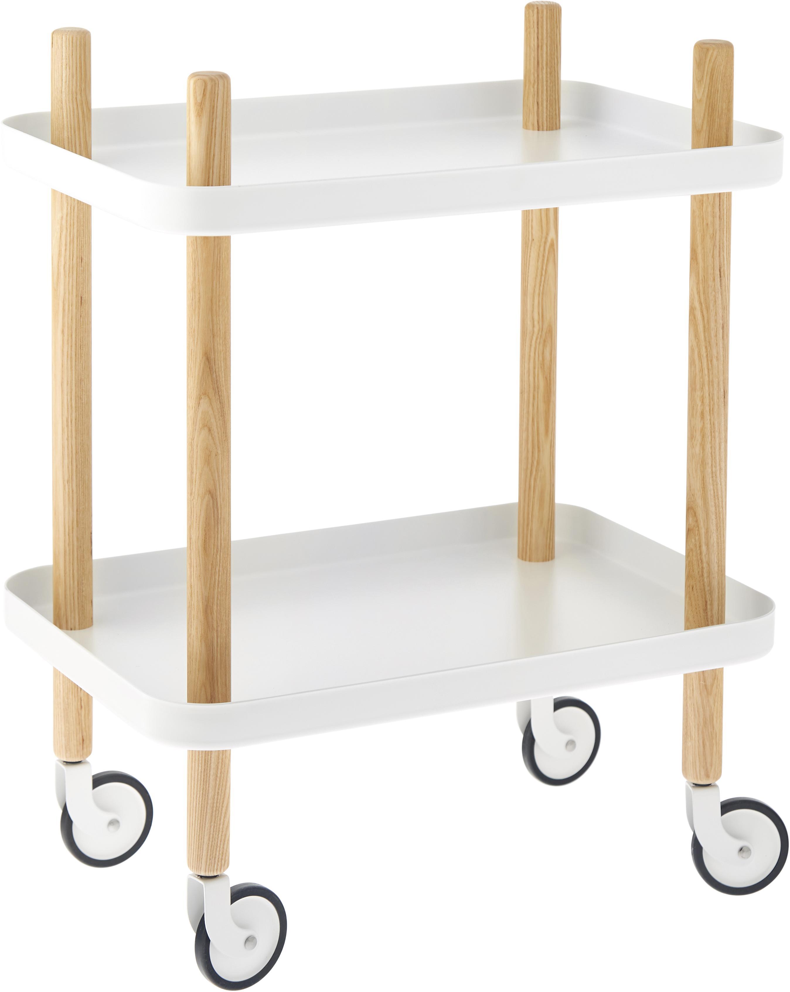 Beistelltisch Block im Skandi Design, Ablageböden: Stahl, Rahmen: Eschenholz, Rollen: Stahl, Gummi, Weiß, 50 x 64 cm