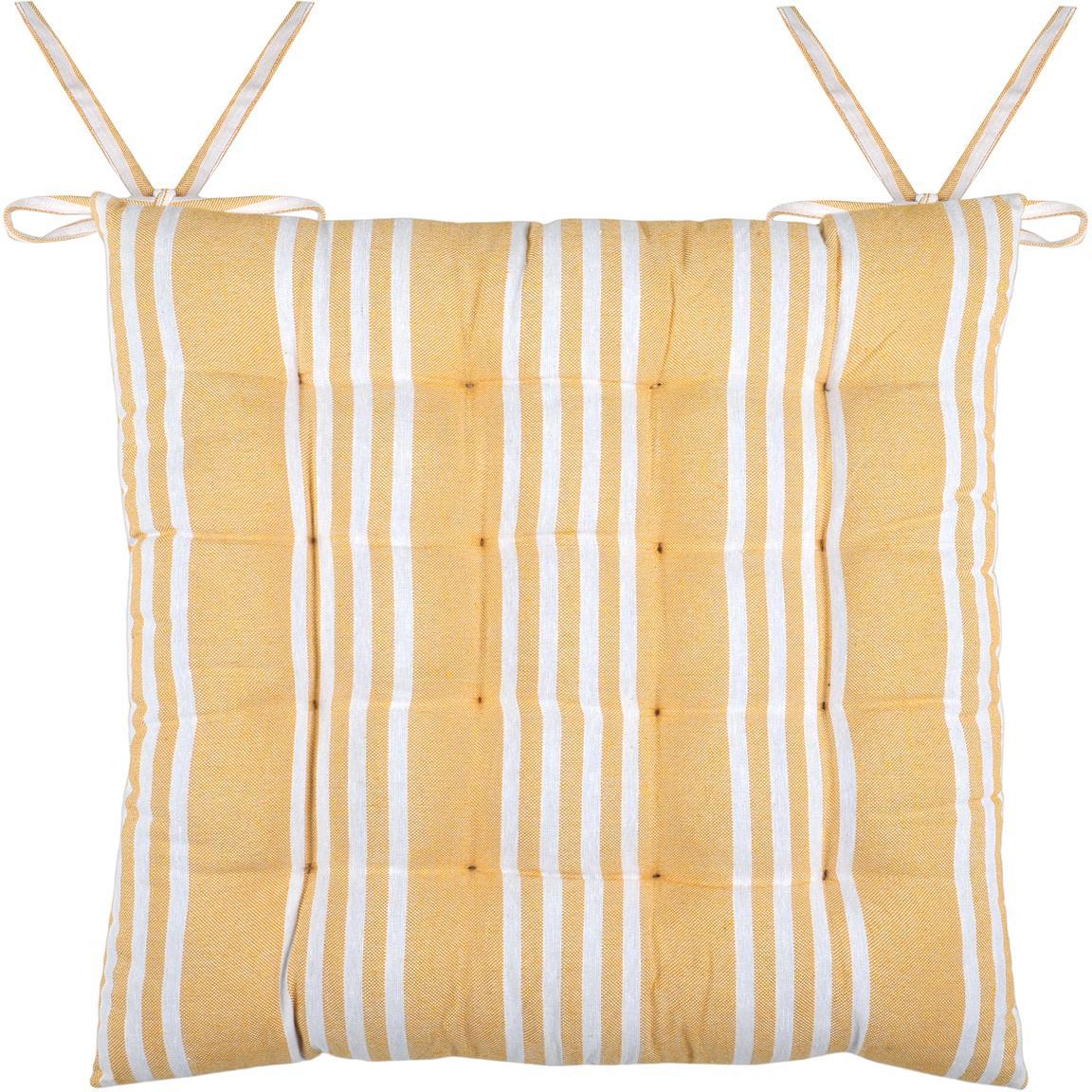Cuscino sedia in giallo Mandelieu, Cotone misto, Giallo, bianco, Larg. 40 x Lung. 40 cm