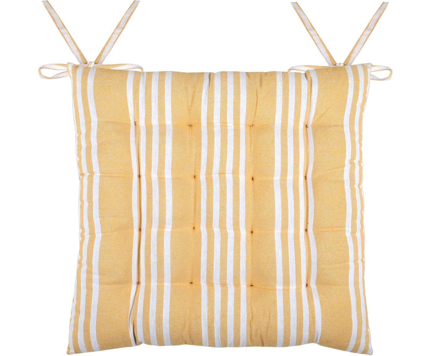 Gestreifte Sitzauflage Mandelieu in Gelb, Baumwollgemisch, Gelb, Weiss, 40 x 40 cm