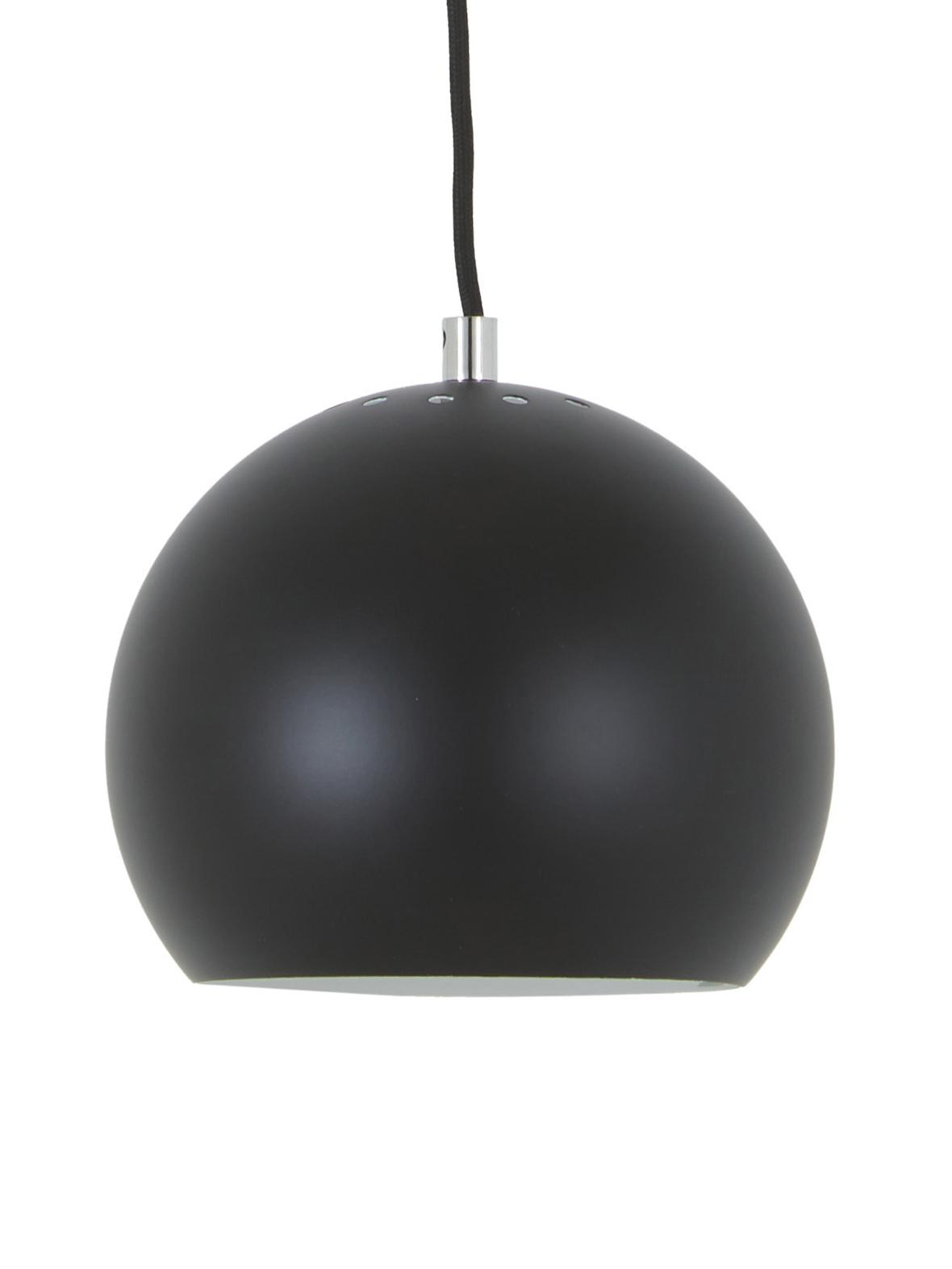 Mała lampa wisząca Ball, Metal malowany proszkowo, Czarny, matowy, Ø 18 x W 16 cm
