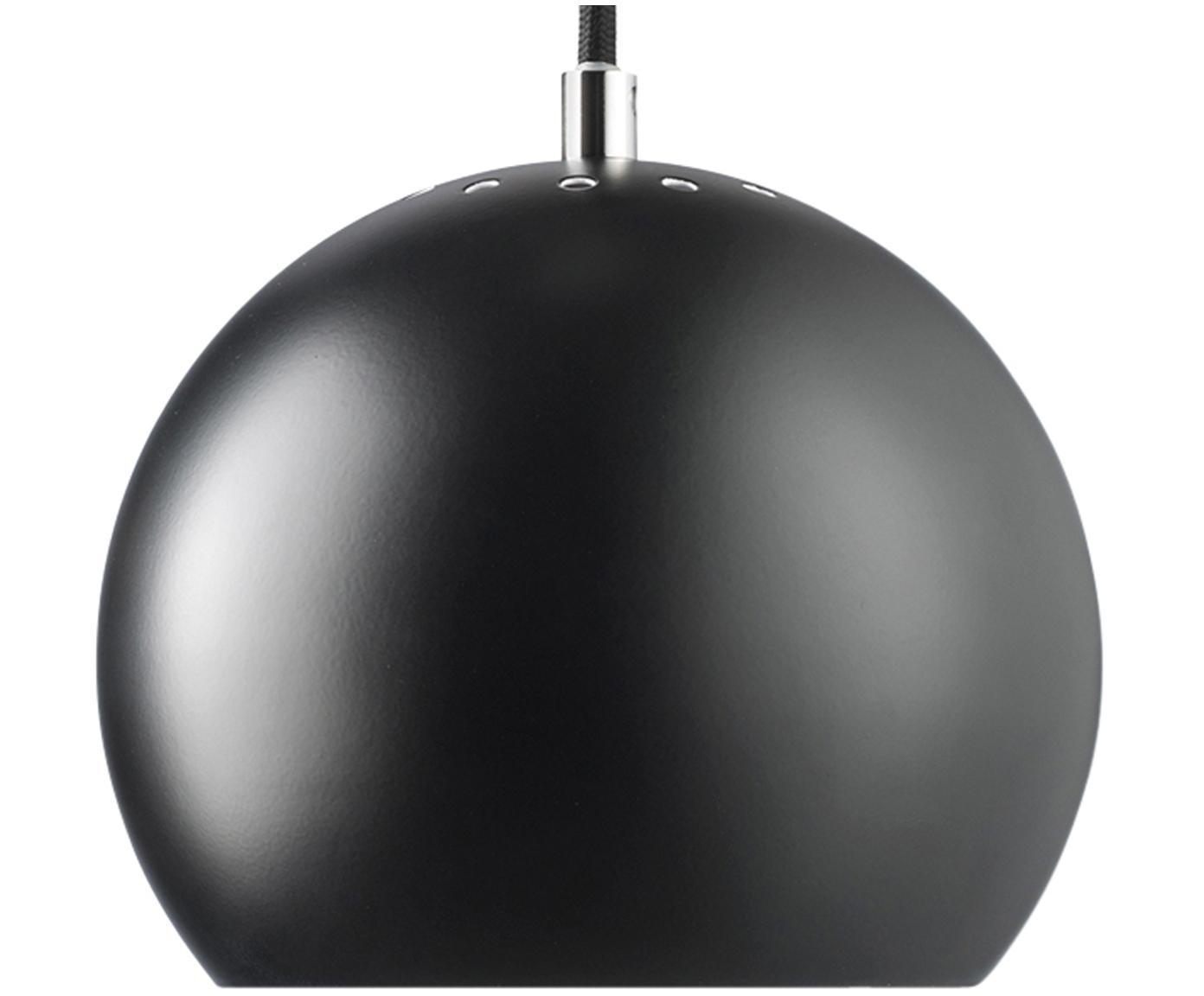 Kleine bolvormige hanglamp  Ball, Gepoedercoat metaal, Zwart, mat, Ø 18 x H 16 cm